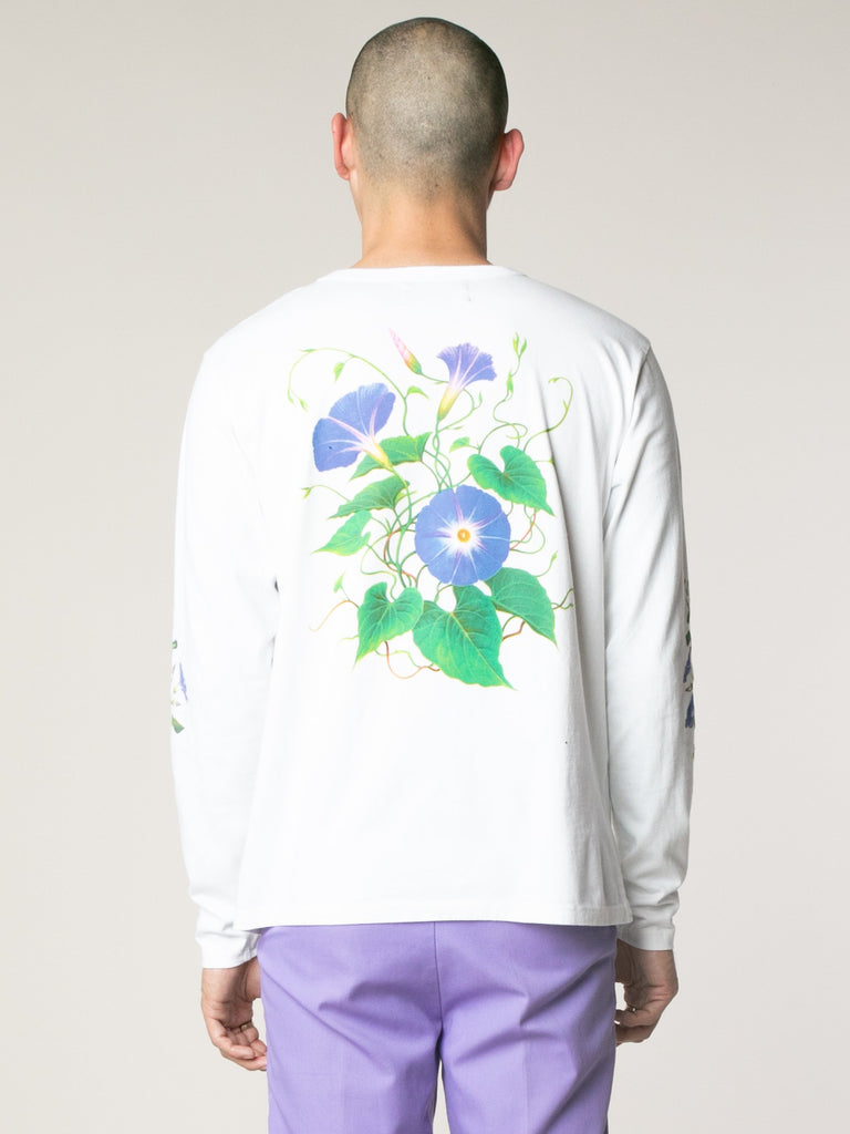 White Morning Glory Long Sleeve T-Shirts 613753609191501