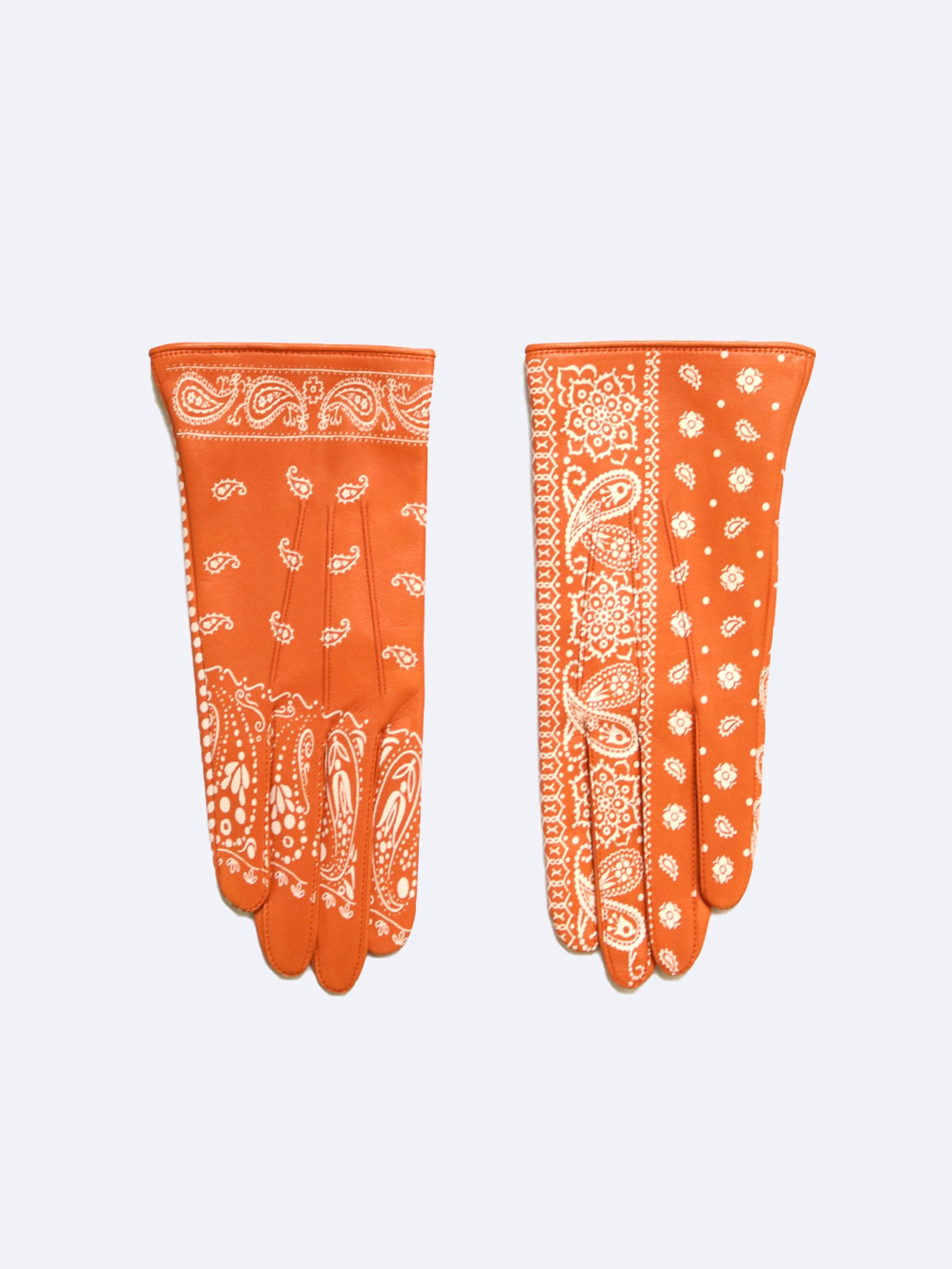 Orange Leather Bandana Gloves 1