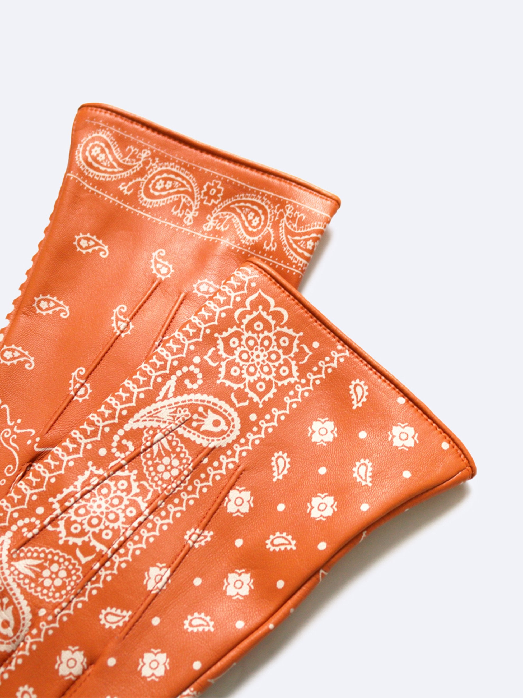 Orange Leather Bandana Gloves 3