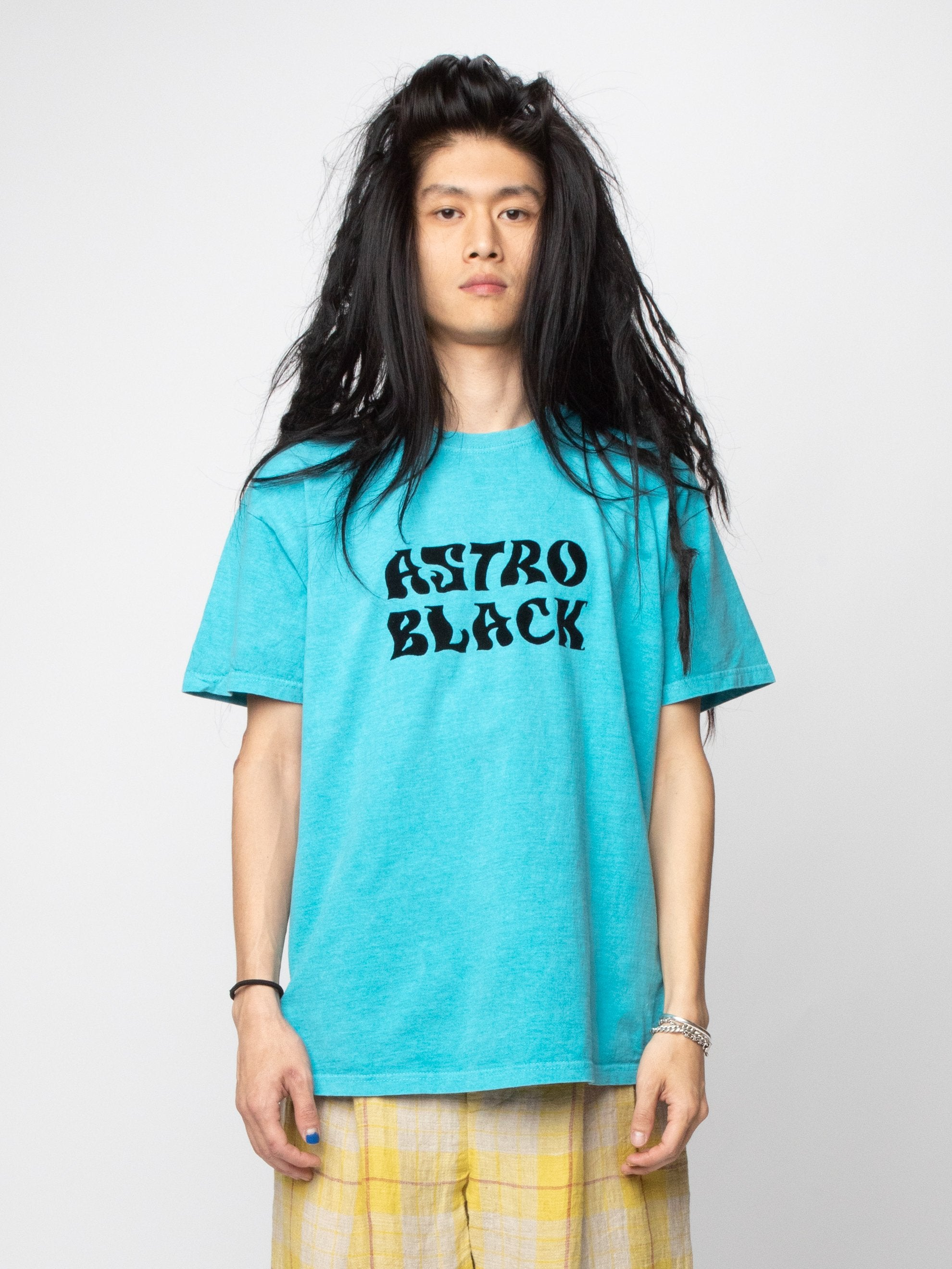 Turquoise Astro Black Garment Dyed T-Shirt 2