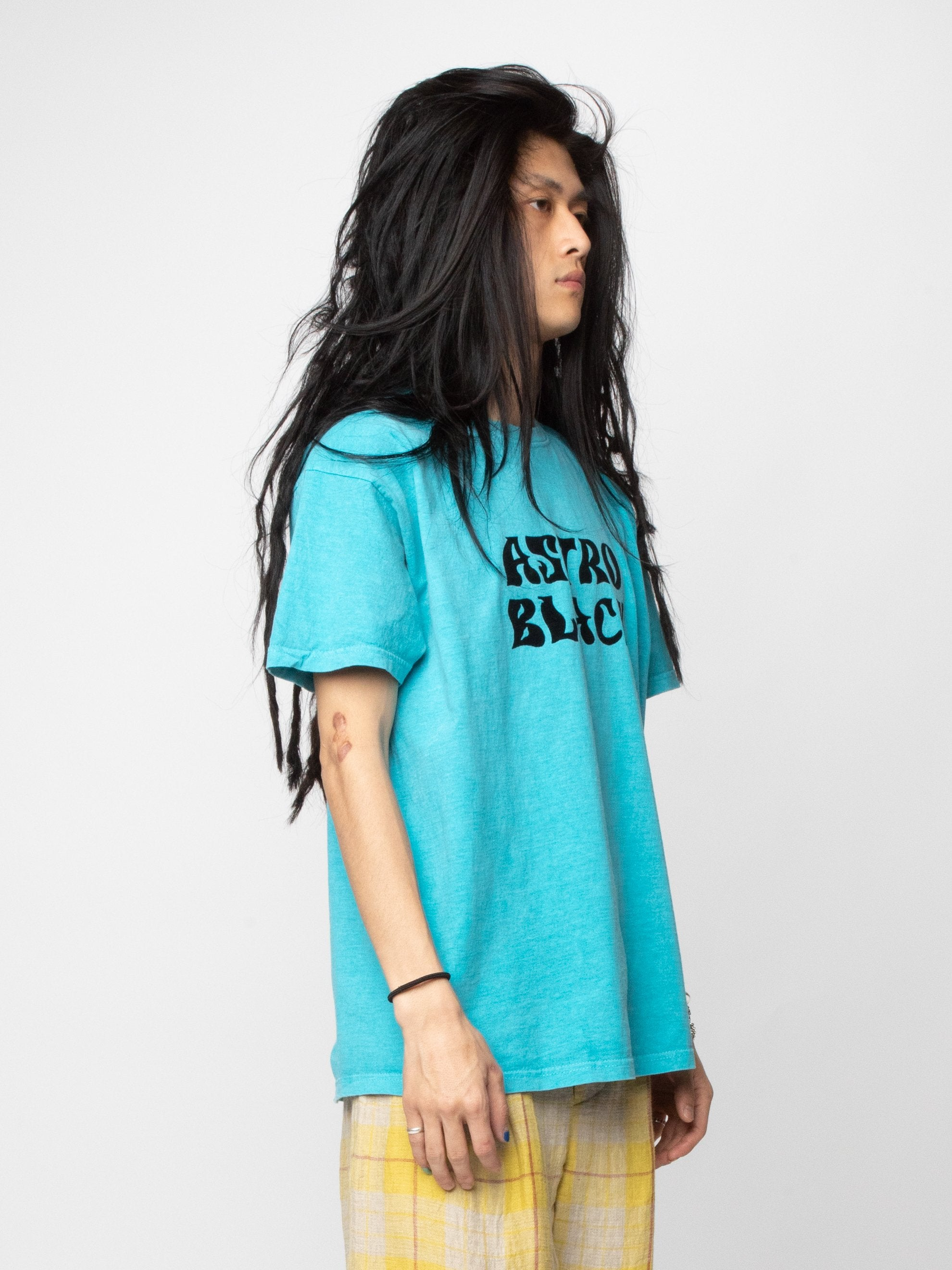 Turquoise Astro Black Garment Dyed T-Shirt 4