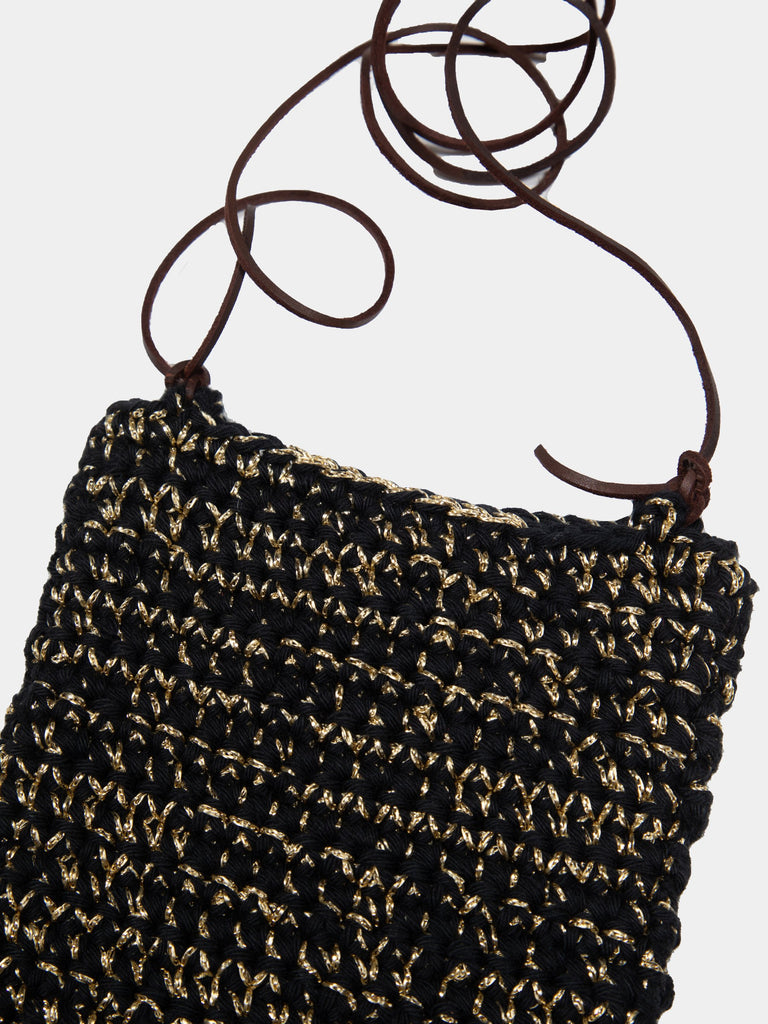 Black/Gold Hand Corchette Neck Pouch 214284352749645