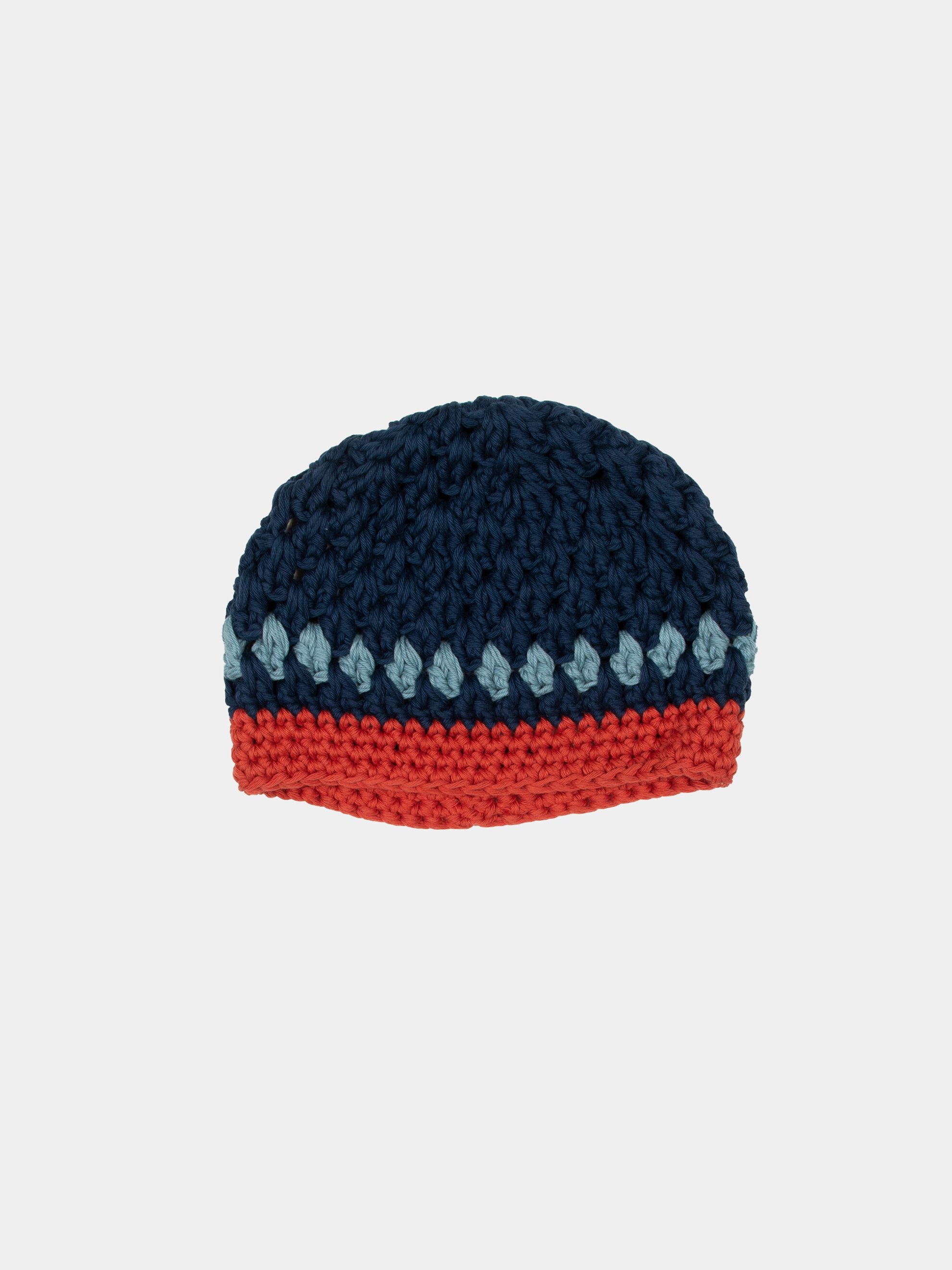 Navy/Orange/Blue Hand Knitted Beanie 2