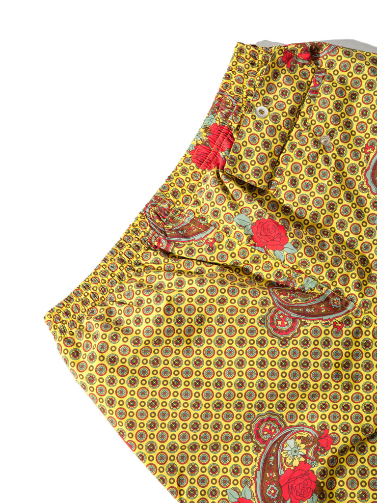 Yellow Paisley Printed Swim Trunk 920818358665
