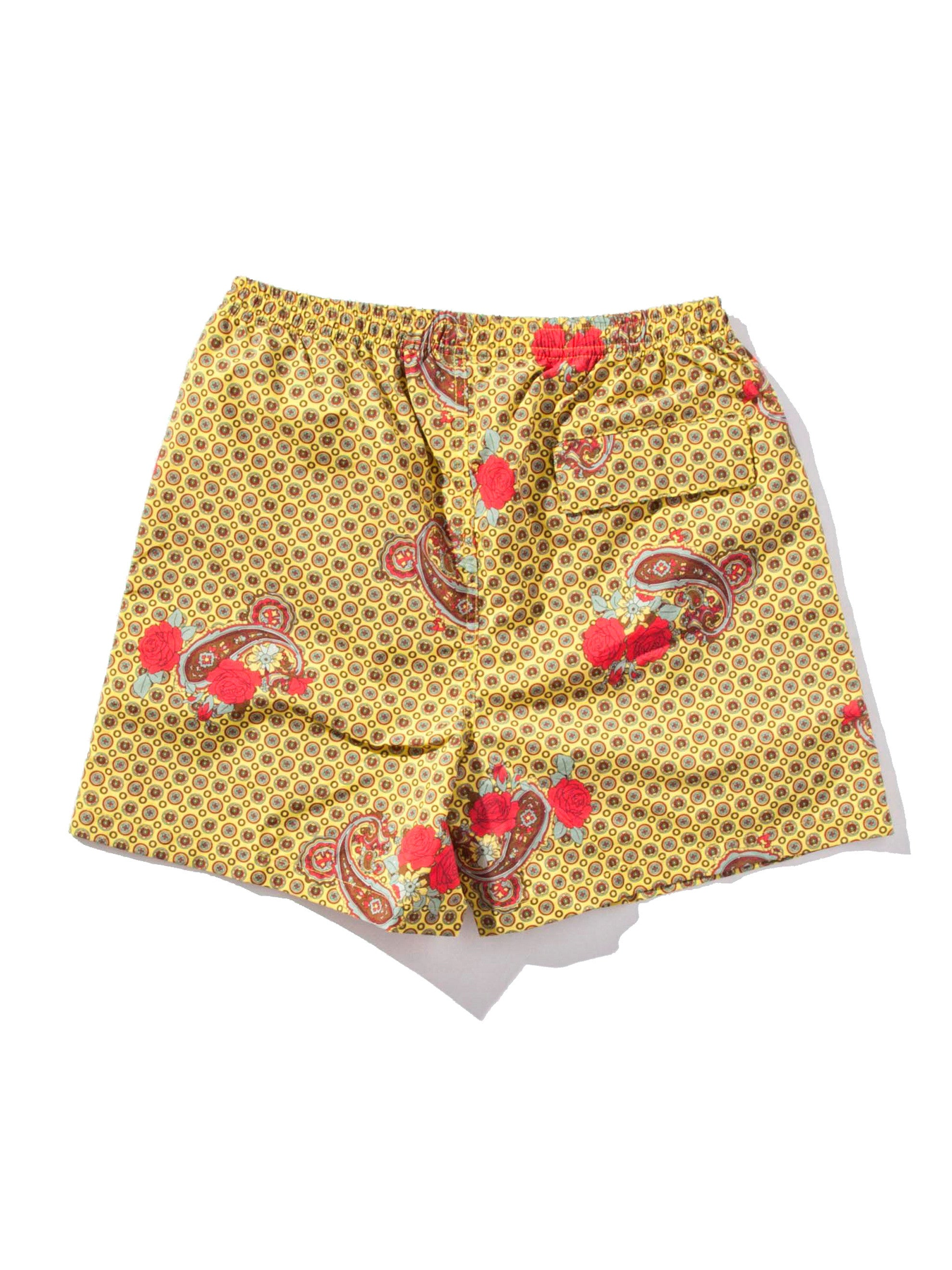 Yellow Paisley Printed Swim Trunk 7