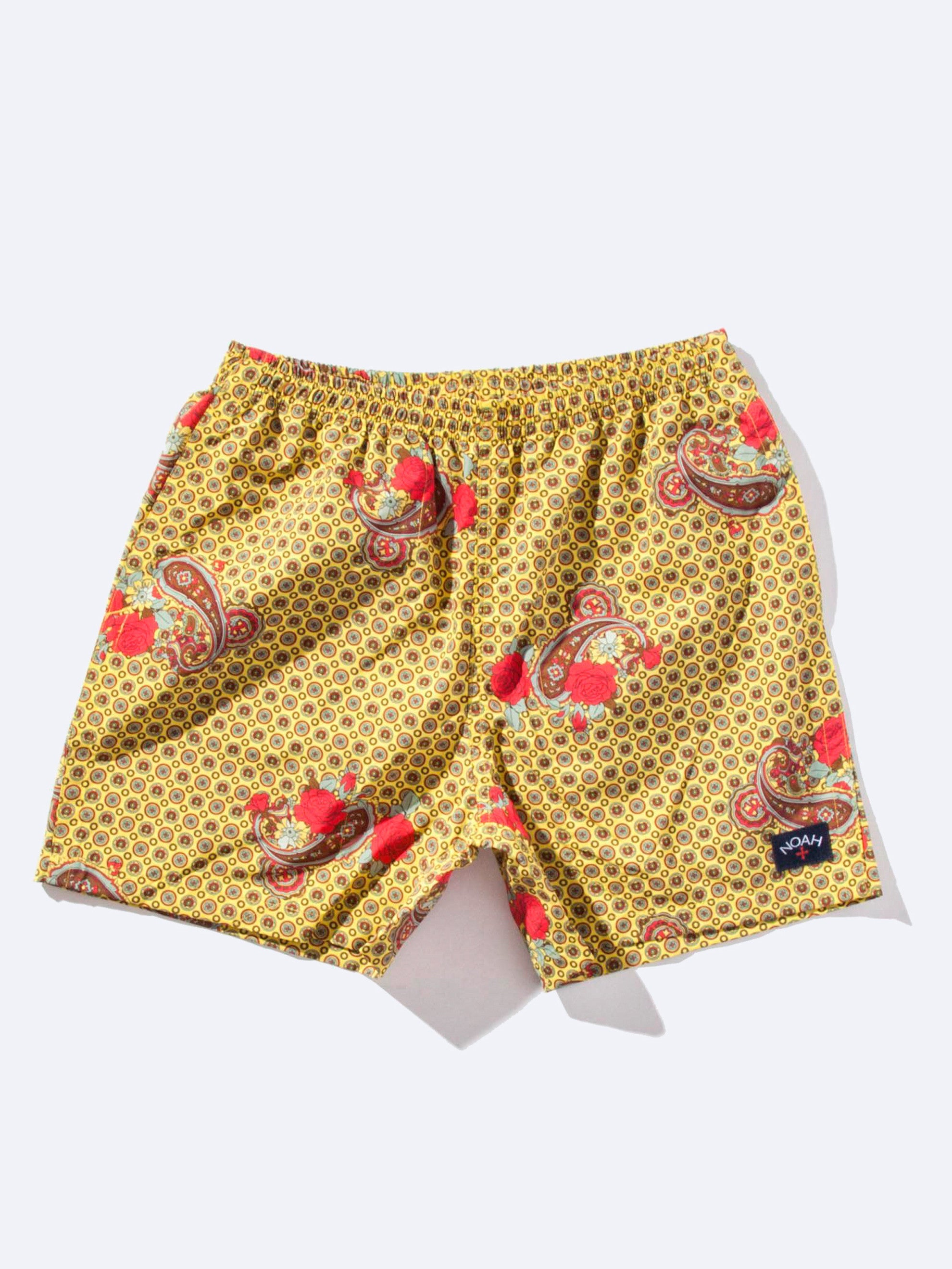 Yellow Paisley Printed Swim Trunk 1