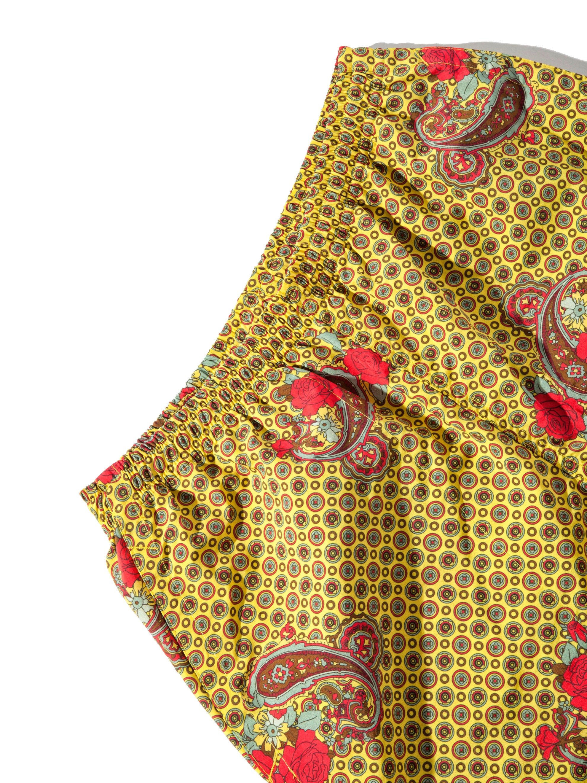 Yellow Paisley Printed Swim Trunk 10
