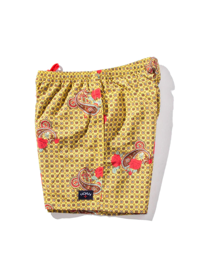 Yellow Paisley Printed Swim Trunk 820818356169