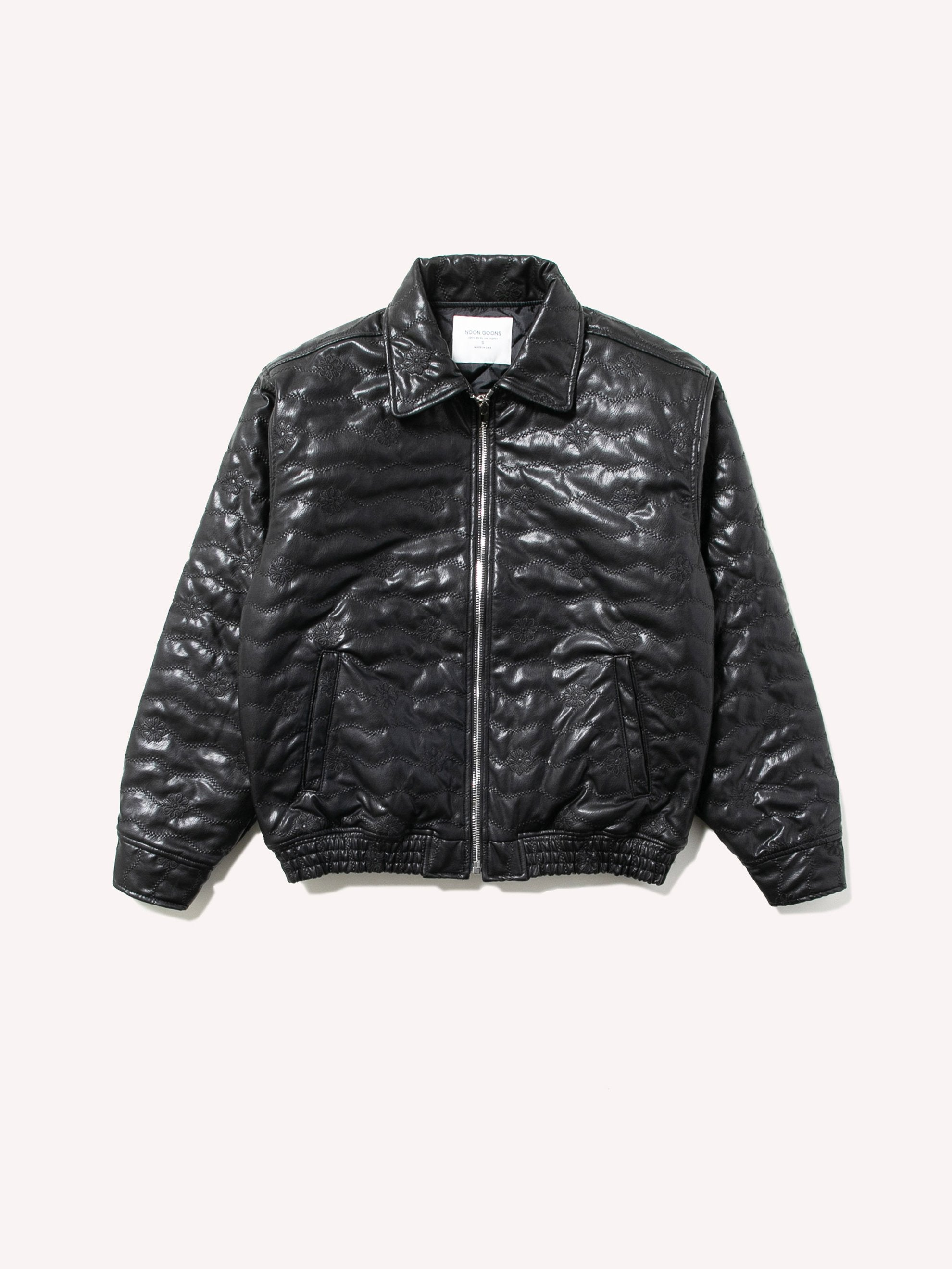 Black Blossom Leather Jacket 1