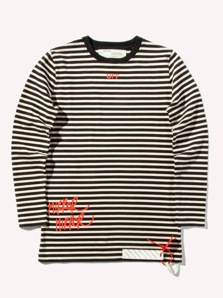 83f333a76a11 Buy OFF-WHITE Mirror Stripes Long Sleeve T-Shirt Online at UNION ...