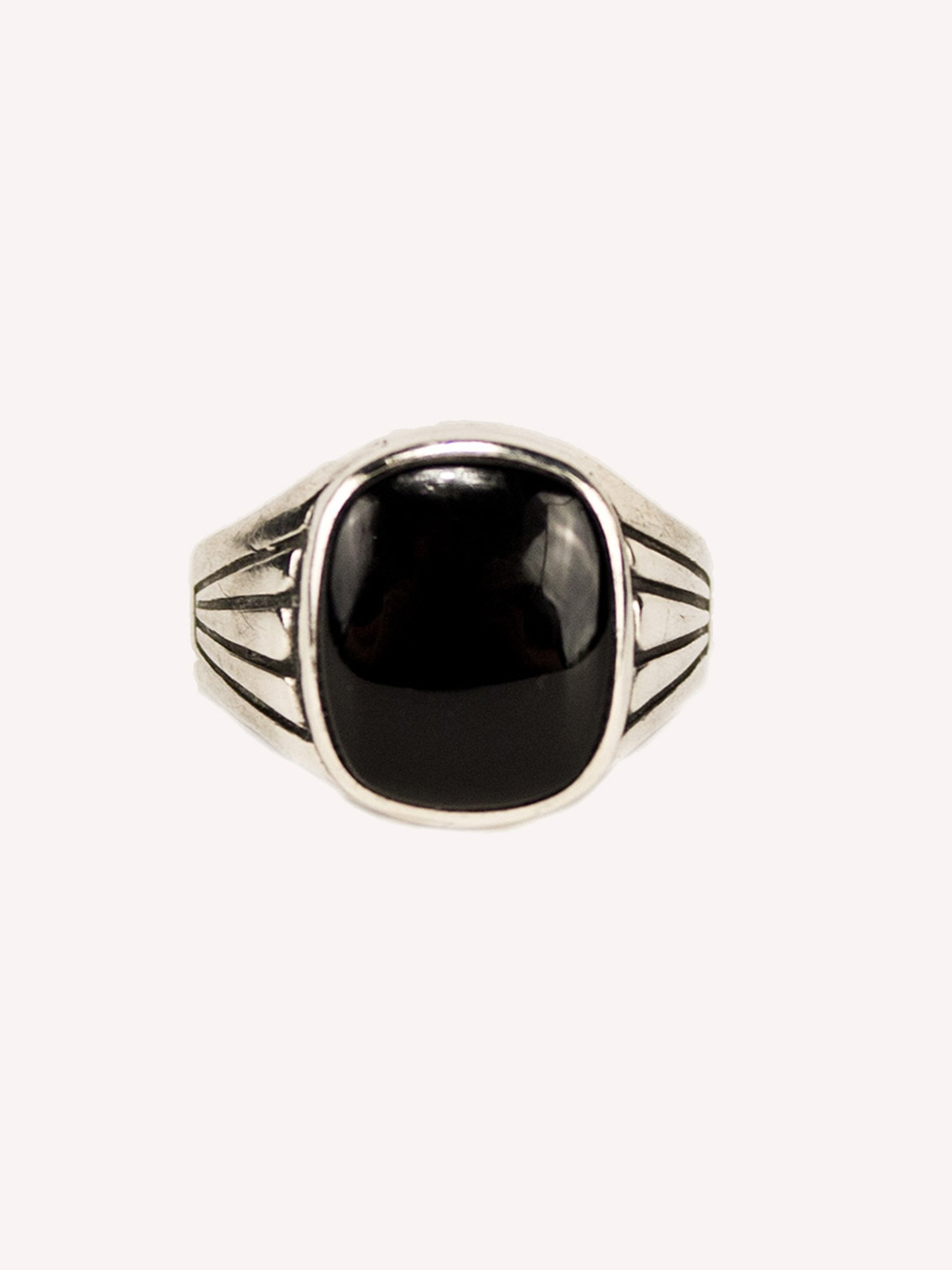 9.5 1930's Sterling Silver and Onyx Men's Ring 1