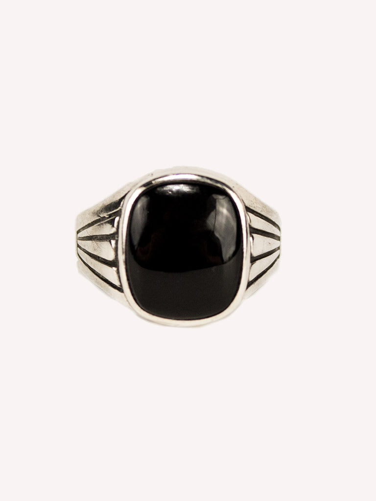 1930's Sterling Silver and Onyx Men's Ring