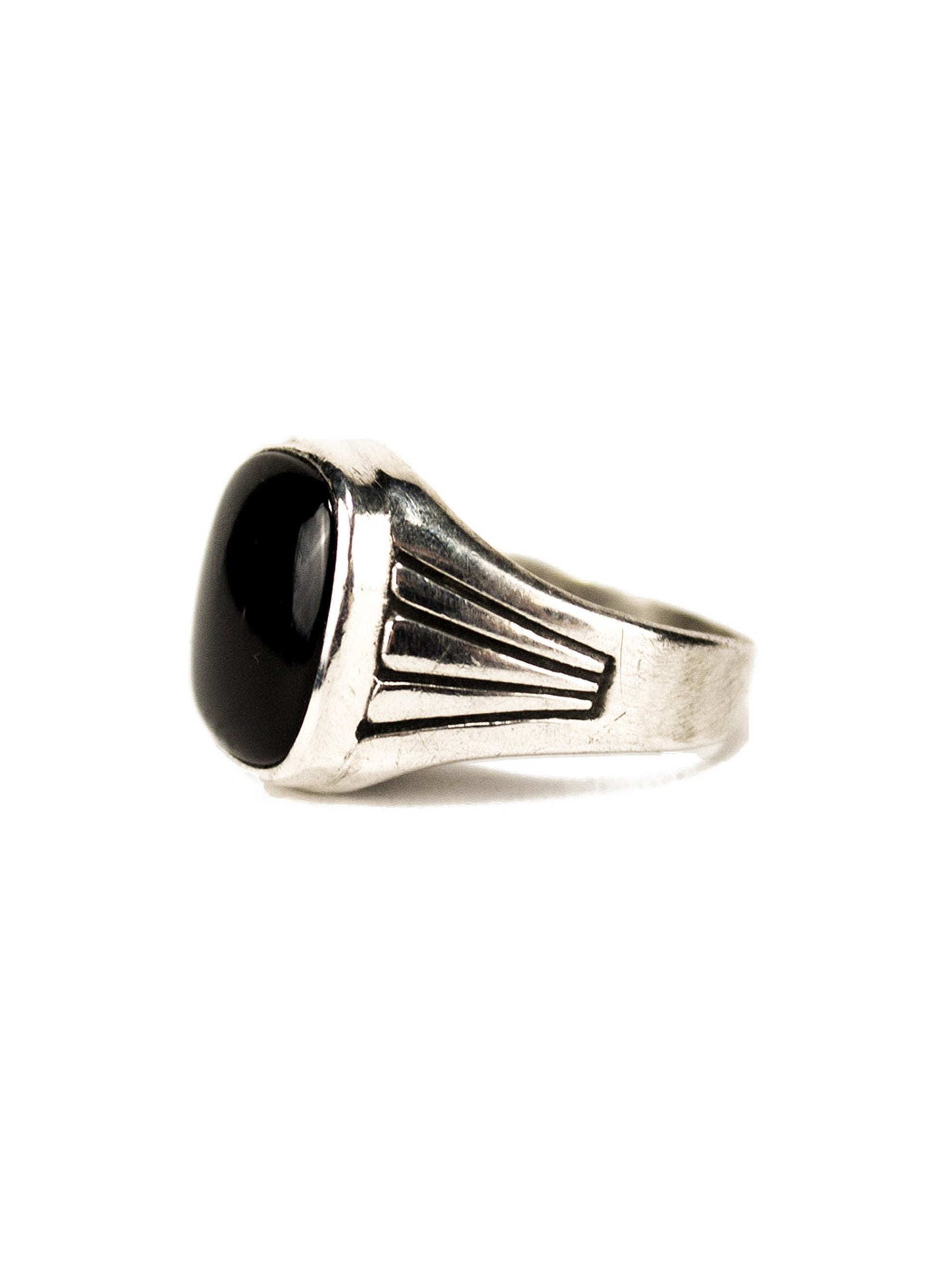 9.5 1930's Sterling Silver and Onyx Men's Ring 2