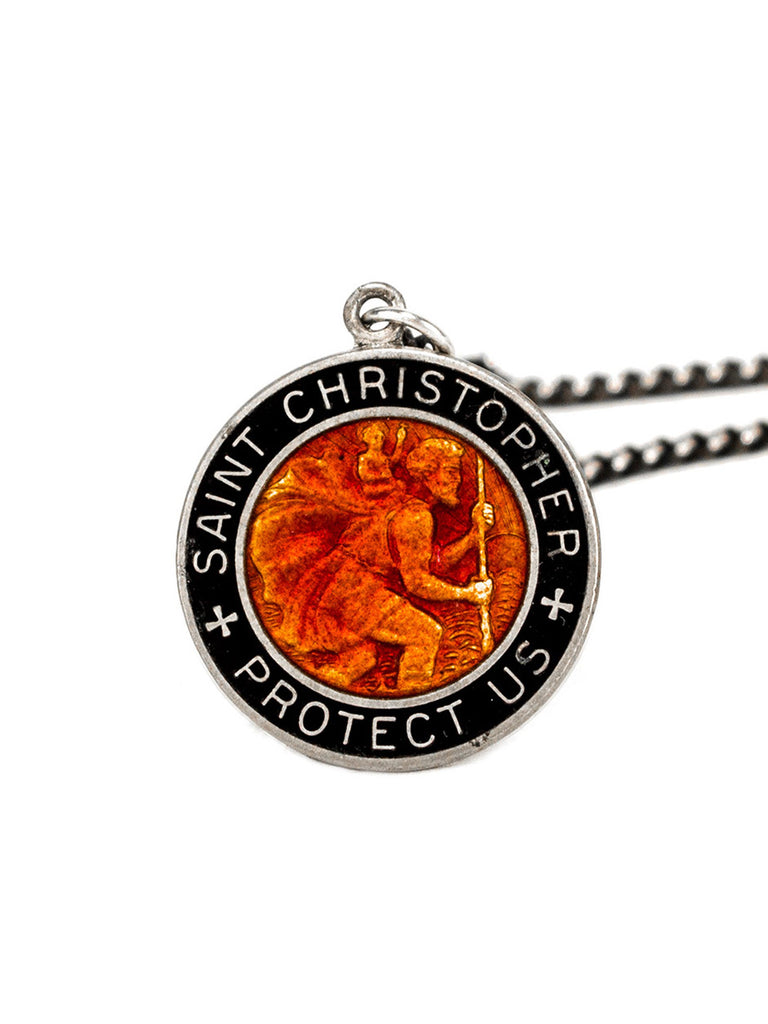 Sterling Silver 1960's Sterling Silver and Enamel St. Christopher Necklace 223412154313