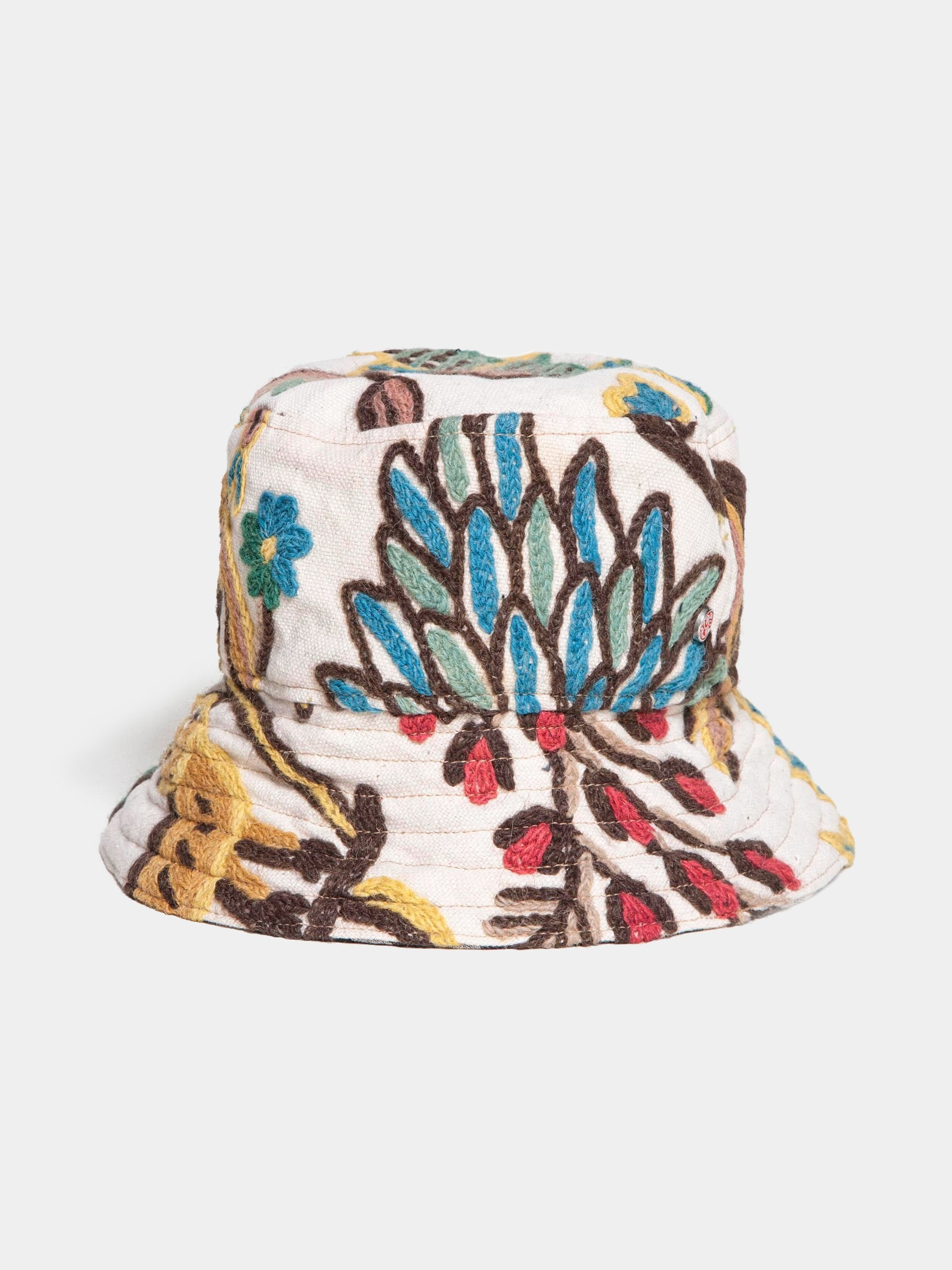 Multi / Beige Floral Check 2-Way Bucket Hat 1
