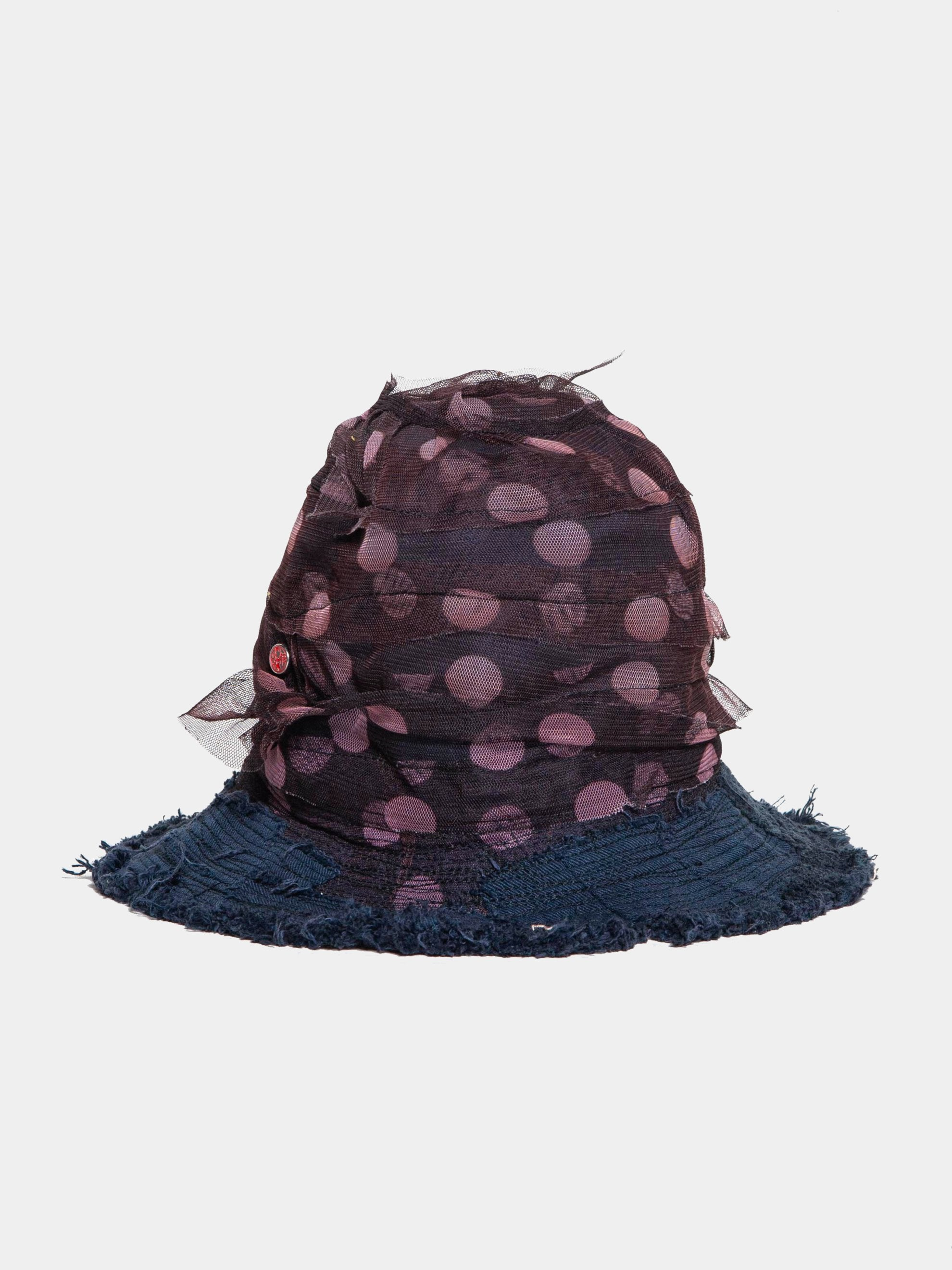 Brown / Navy Spiral Mesh Decorated Scarecrow Hat 1