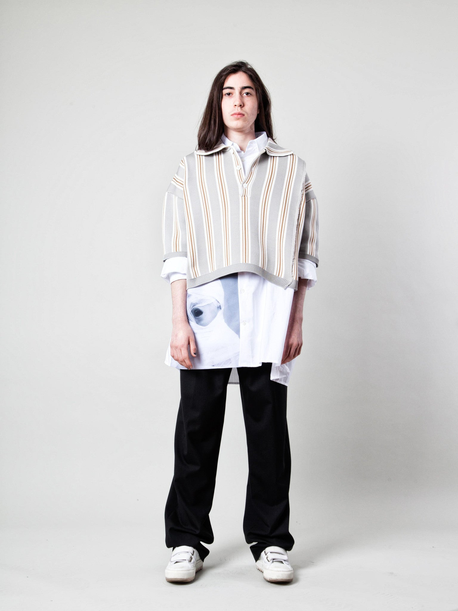 O/S Oversized Cropped Polo (Vert. Stripes) 2
