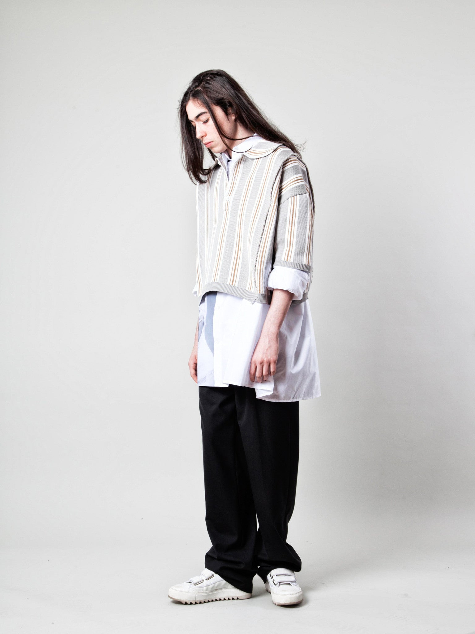 O/S Oversized Cropped Polo (Vert. Stripes) 3