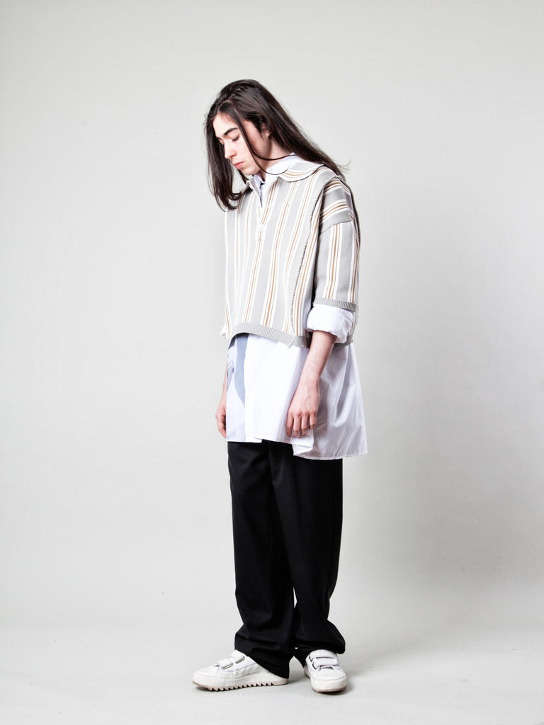 O/S Oversized Cropped Polo (Vert. Stripes) 319109195209