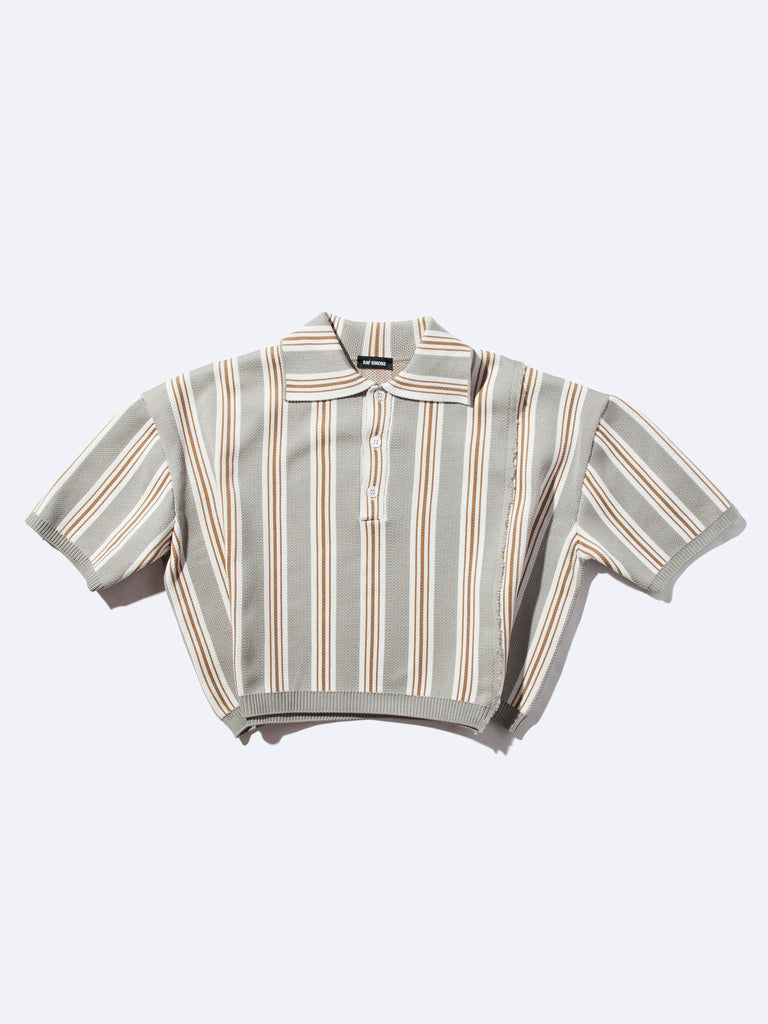 Oversized Cropped Polo (Vert. Stripes)