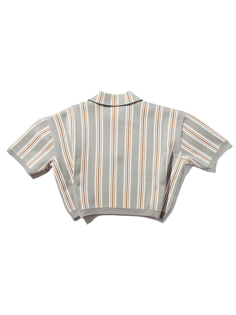 O/S Oversized Cropped Polo (Vert. Stripes) 719109197577