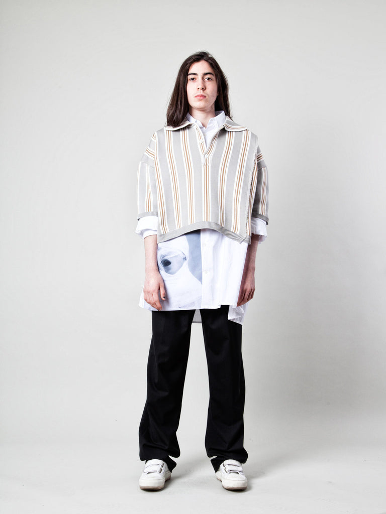 O/S Oversized Cropped Polo (Vert. Stripes) 219109197769
