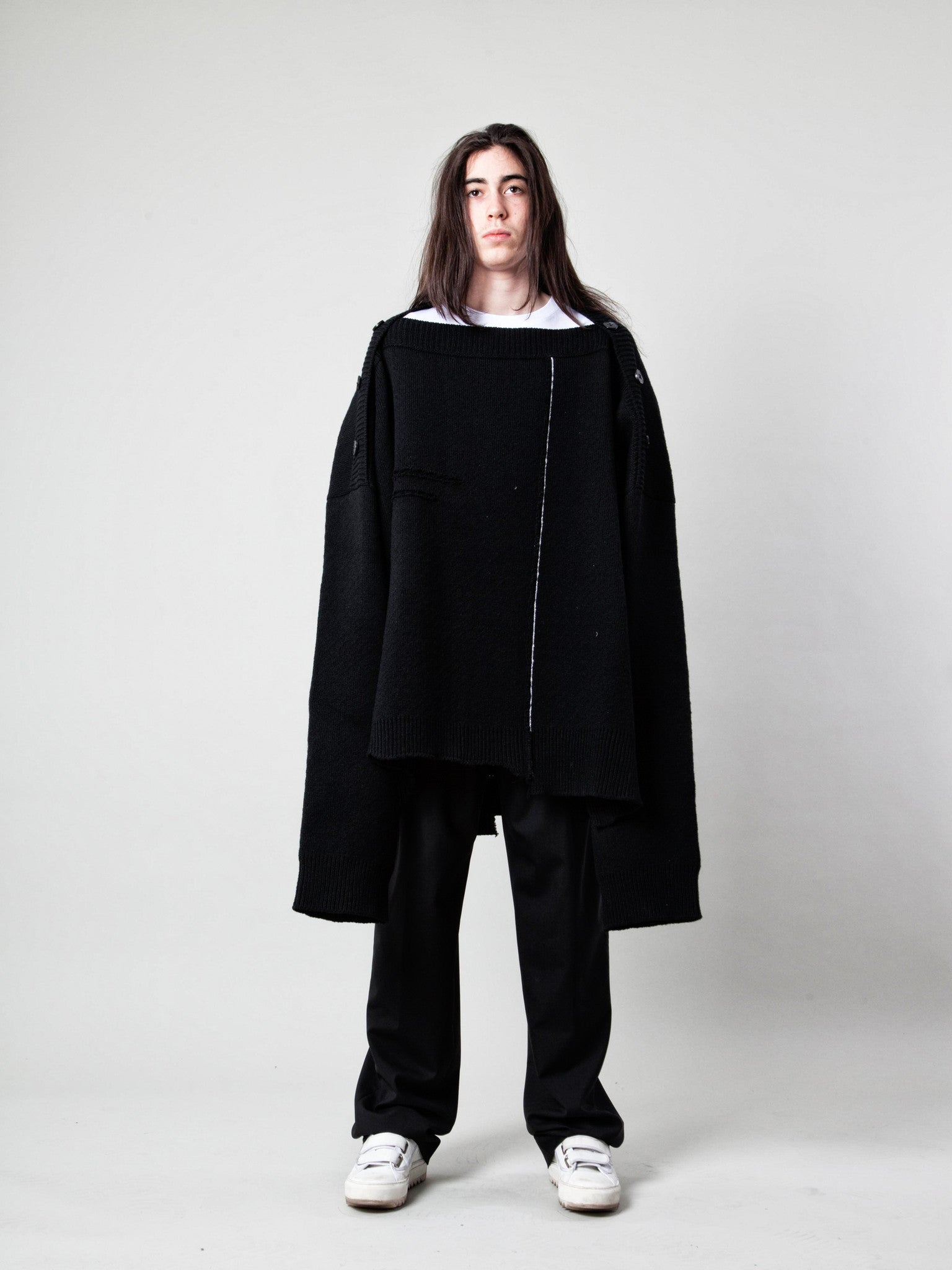 O/S Oversized Distorted Straight Necklined Sweater 2