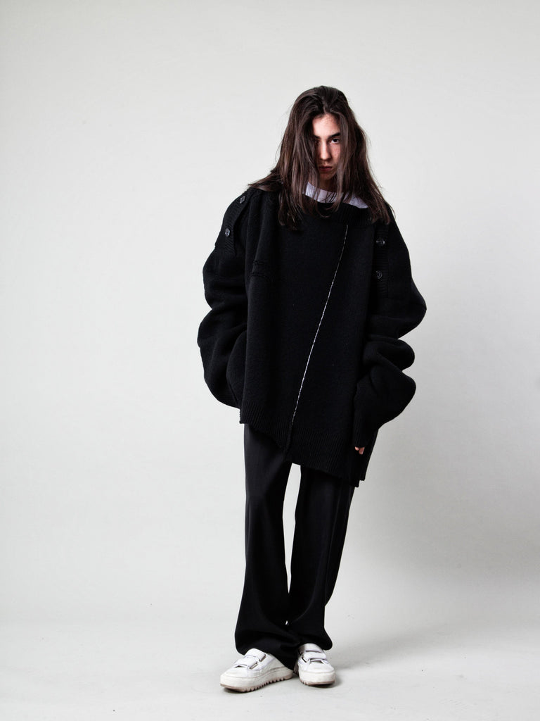 O/S Oversized Distorted Straight Necklined Sweater 319109196809