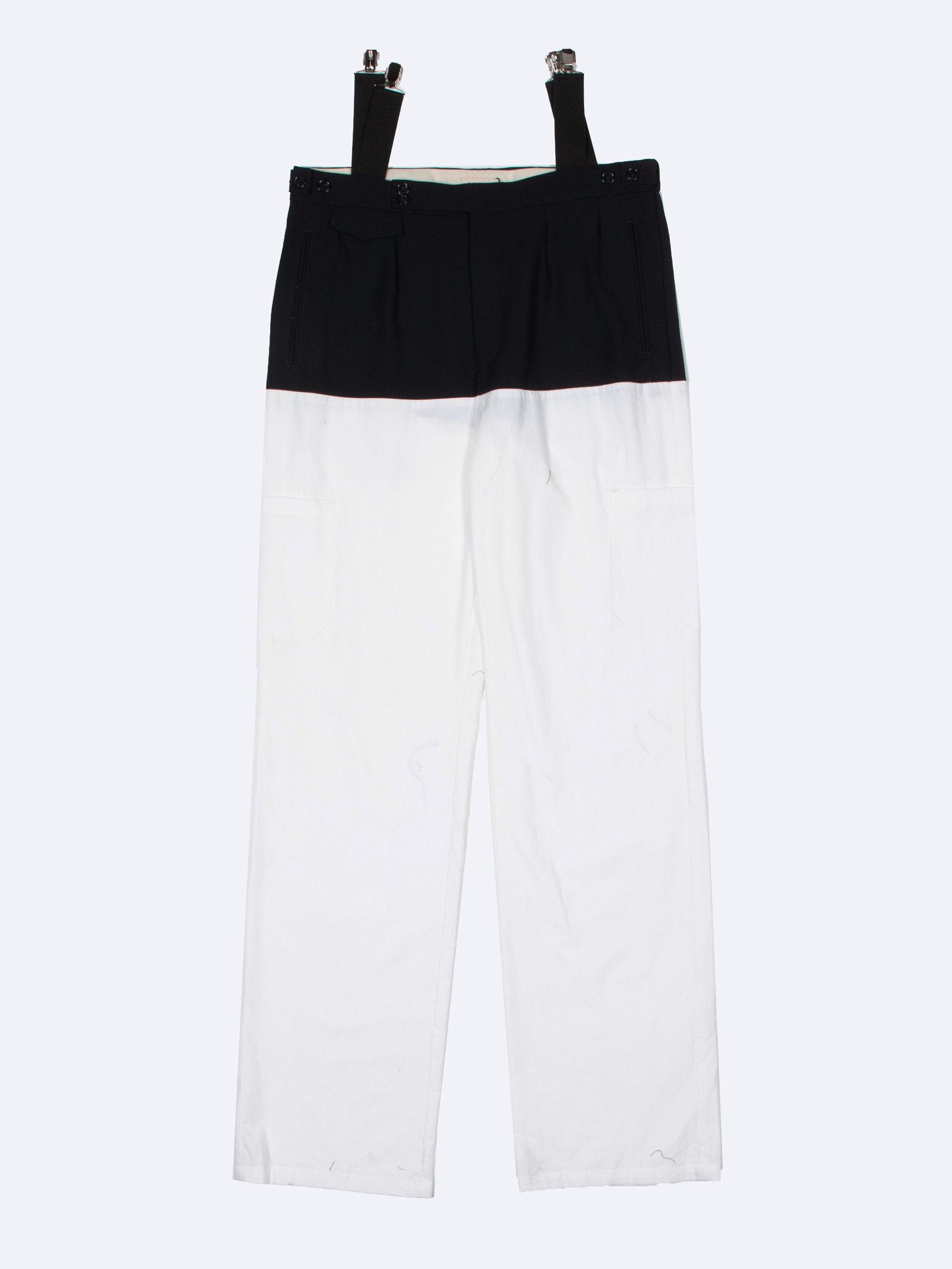 White / Navy Pants With Horizontal Cut Pockets & Suspenders 1