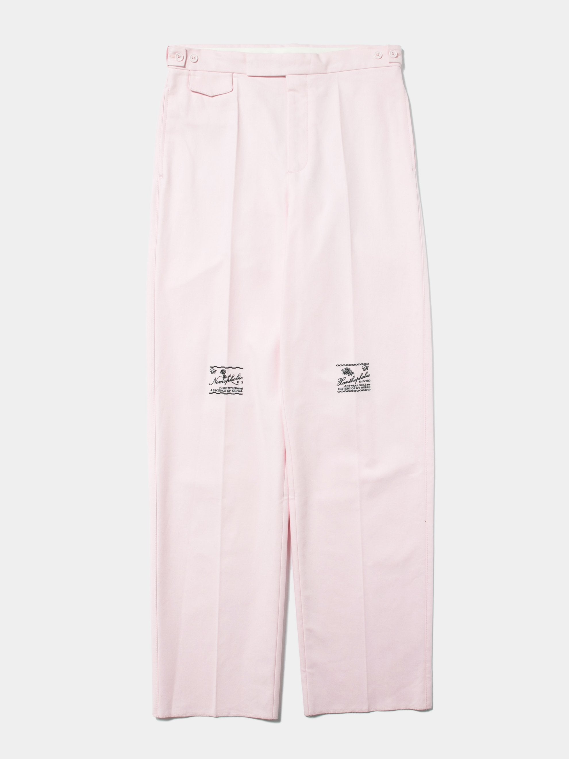 Pink Wide Chino Pants with Embroidery 1
