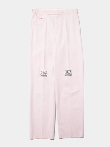 Wide Chino Pants with Embroidery