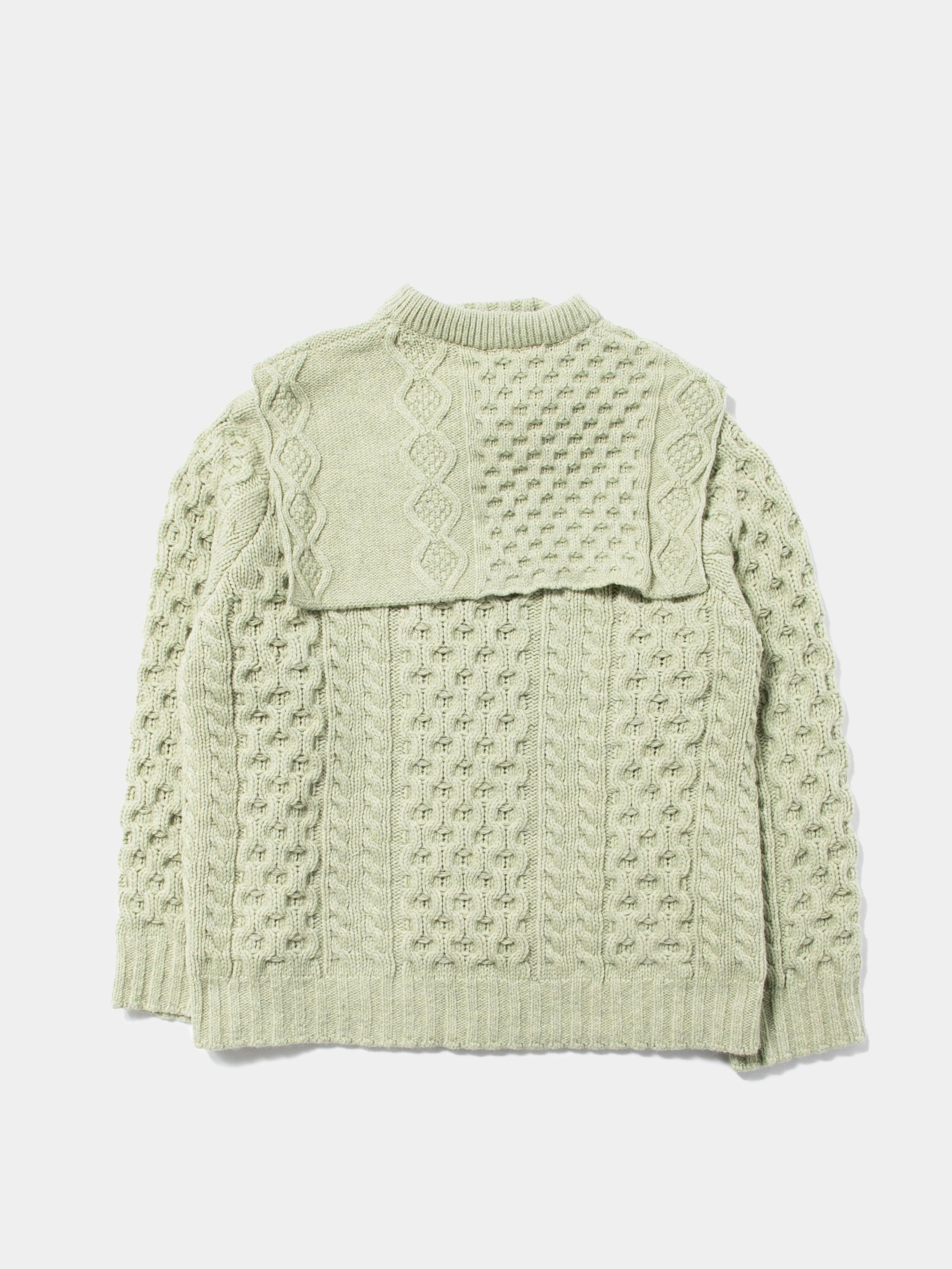 Sage Aran Knit Sweater with Patched on Collar 1
