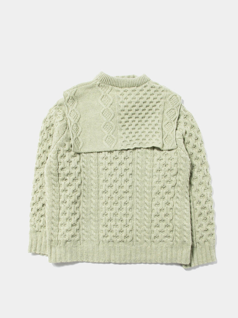Aran Knit Sweater with Patched on Collar