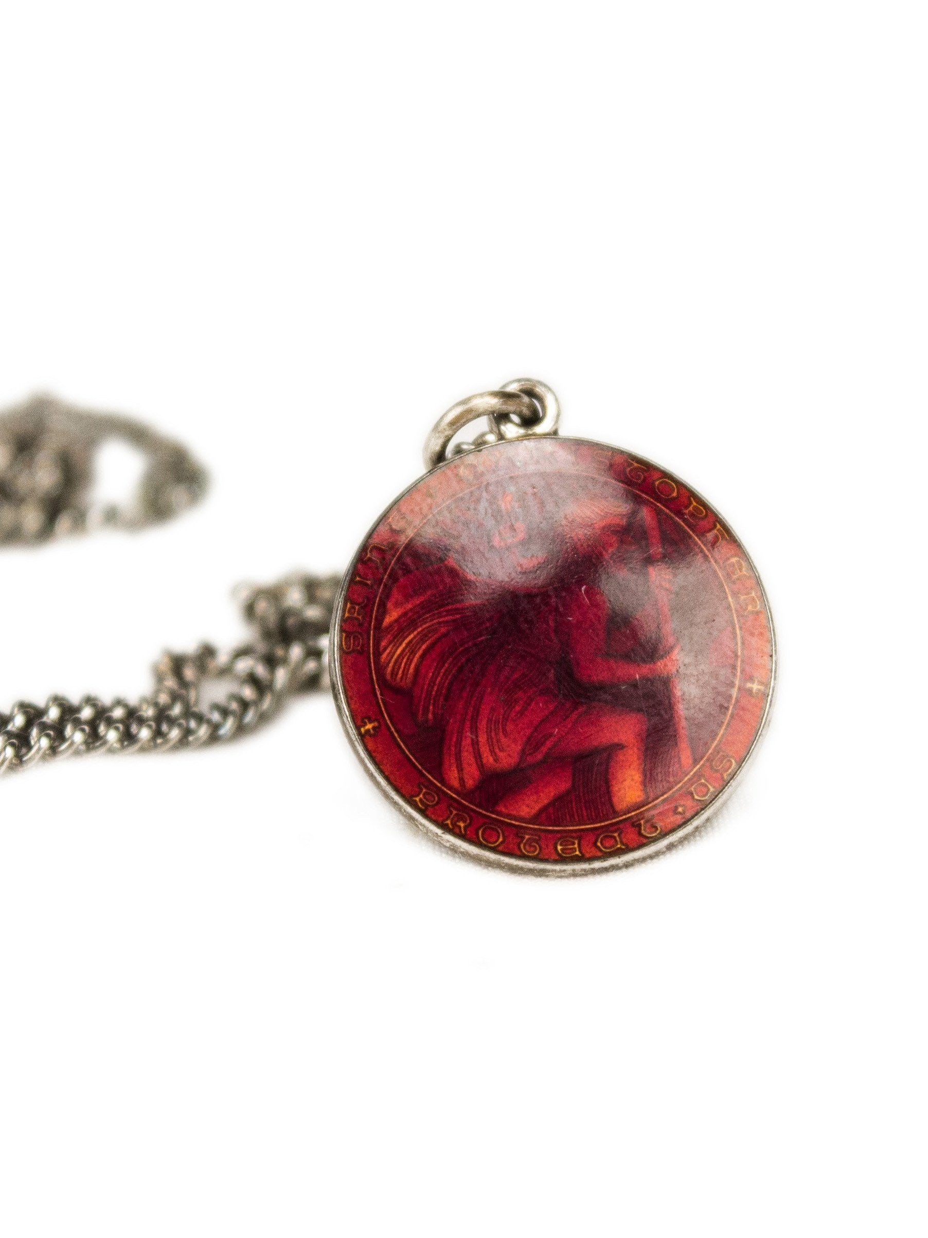 Sterling Silver Vintage Sterling Silver and Red Enamel St. Christopher Necklace 2