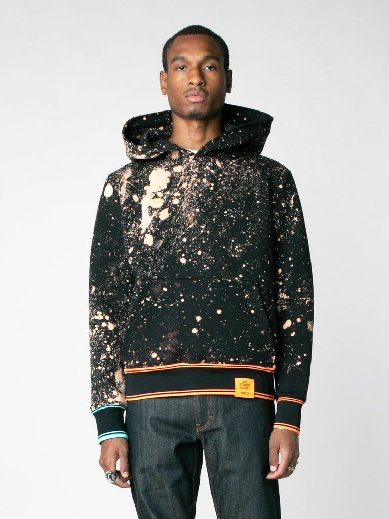 Hand-Bleached Sepia Soto Slanted Pullover Hoodie With Multi Rib13607367442509