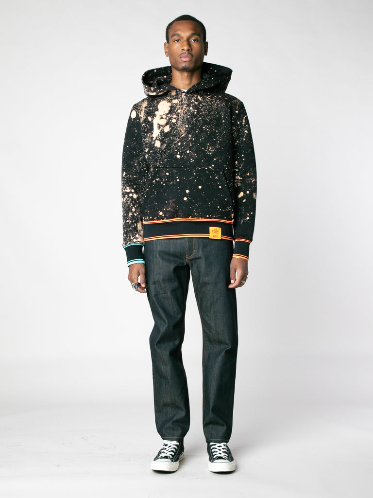 Hand-Bleached Sepia Soto Slanted Pullover Hoodie With Multi Rib13607367475277