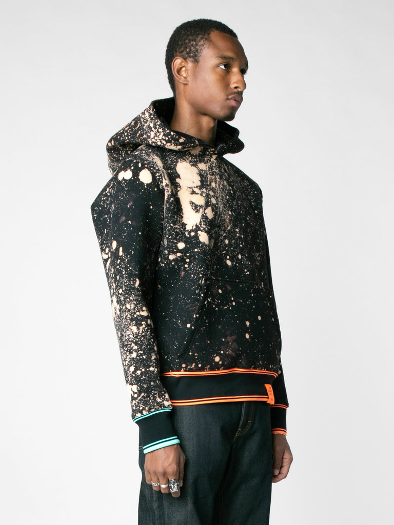 Hand-Bleached Sepia Soto Slanted Pullover Hoodie With Multi Rib13607367508045