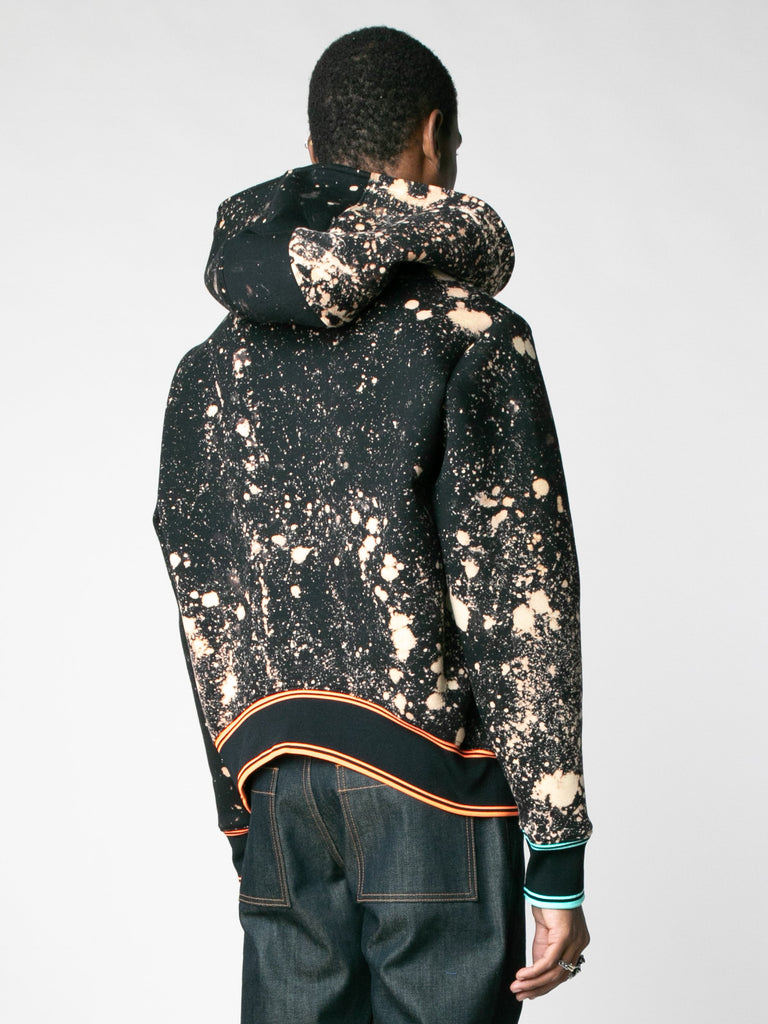 Hand-Bleached Sepia Soto Slanted Pullover Hoodie With Multi Rib13607367540813
