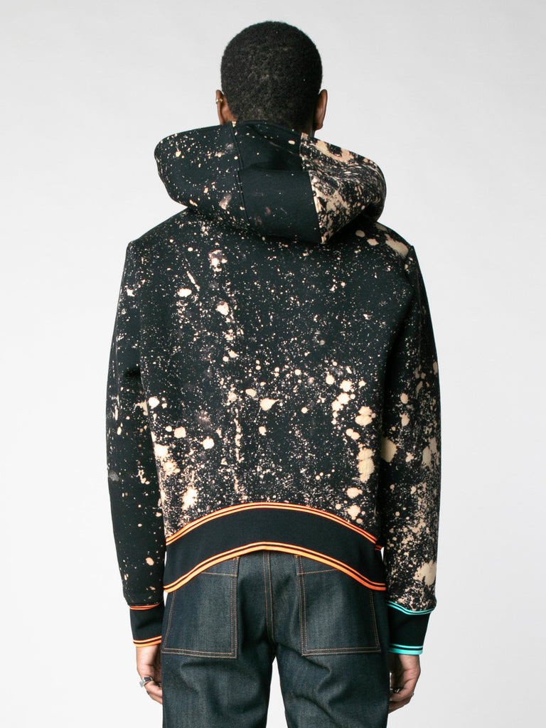Hand-Bleached Sepia Soto Slanted Pullover Hoodie With Multi Rib13607367573581
