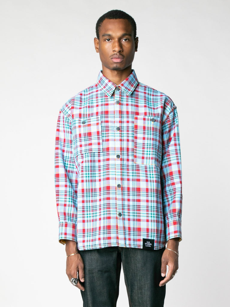 Open-Weave Check Oversized Button Down Shirt With Vampire Sunrise Contrast13607352303693