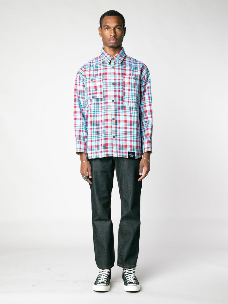 Open-Weave Check Oversized Button Down Shirt With Vampire Sunrise Contrast13607352336461