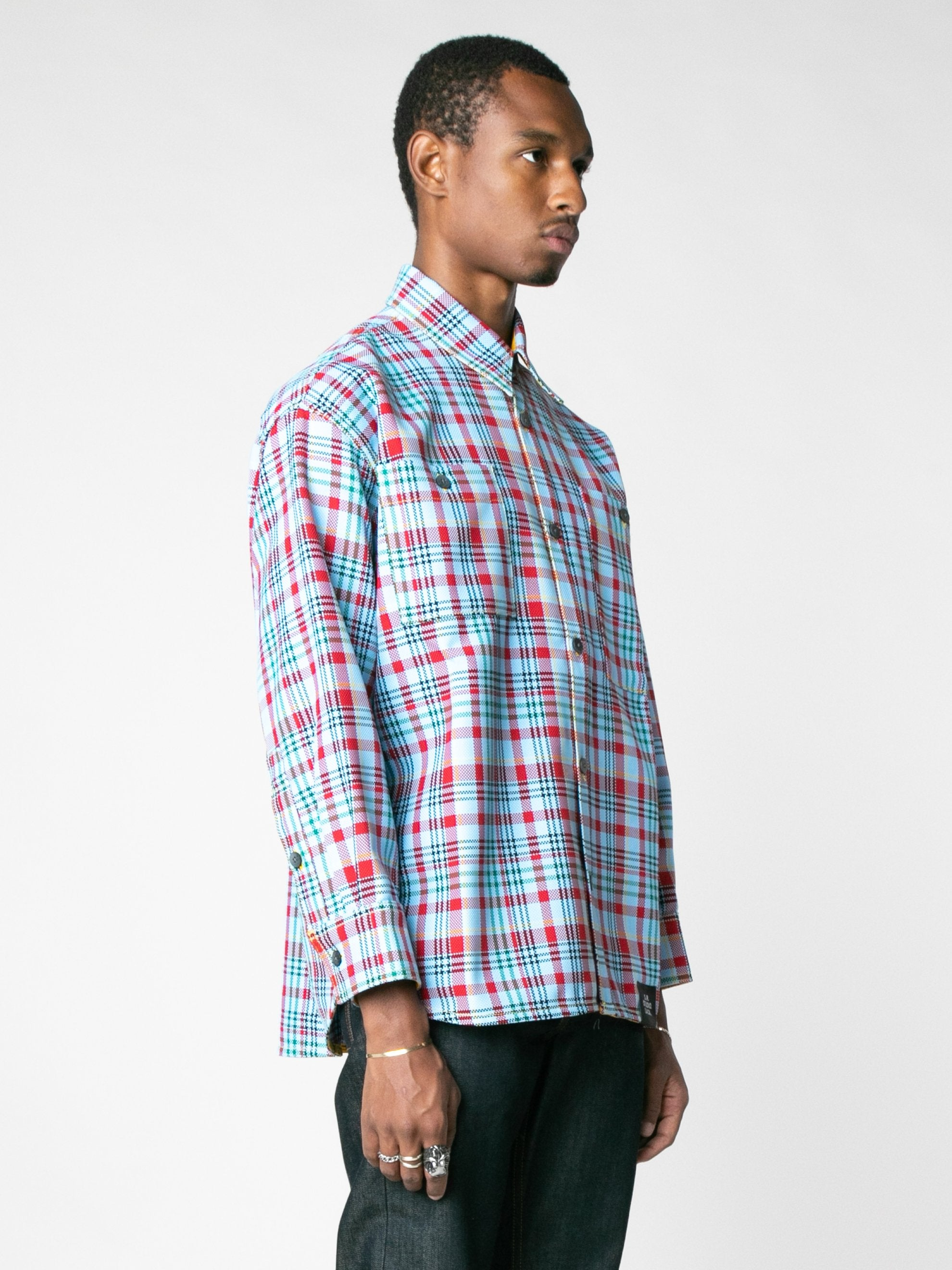 Open-Weave Check Oversized Button Down Shirt With Vampire Sunrise Contrast