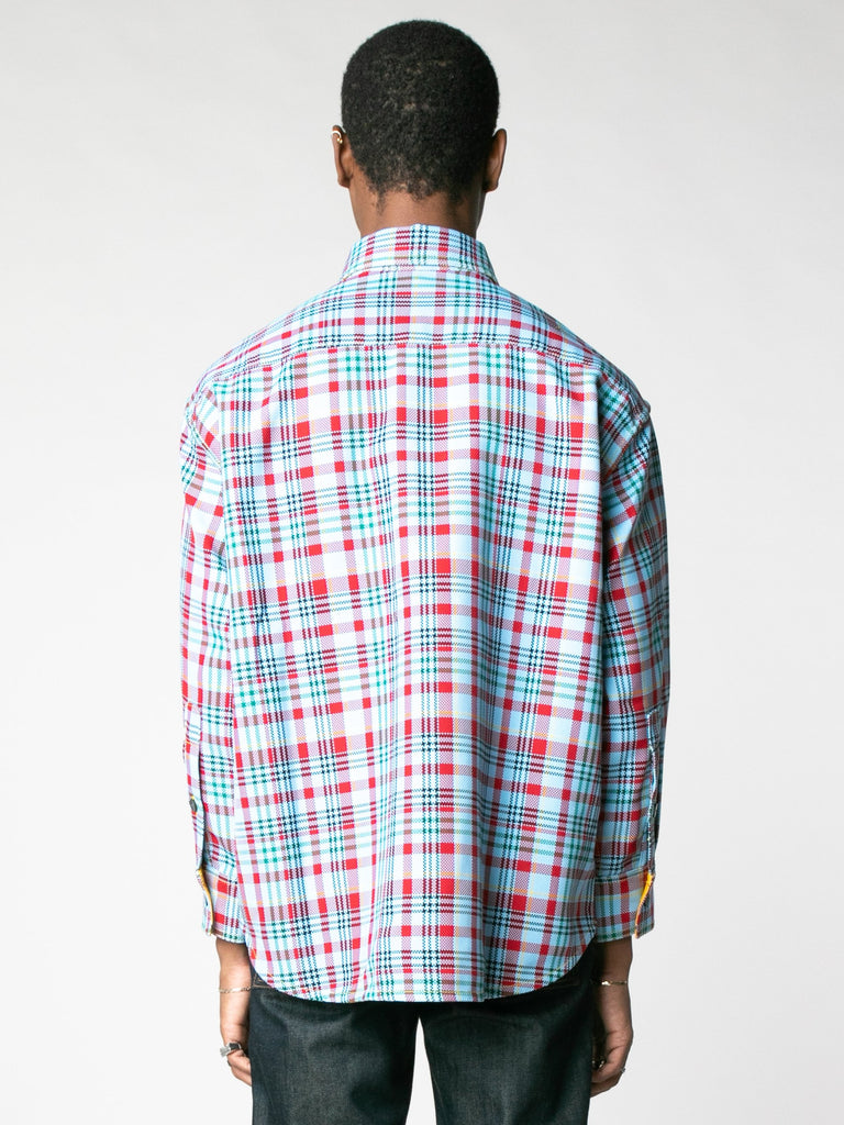 Open-Weave Check Oversized Button Down Shirt With Vampire Sunrise Contrast13607352434765