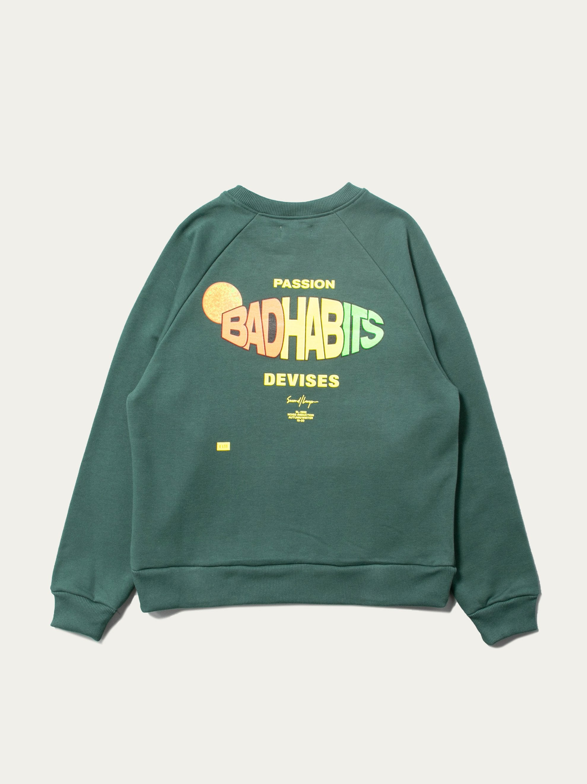 Green Bad Habits Raglan Crew Sweatshirt 1