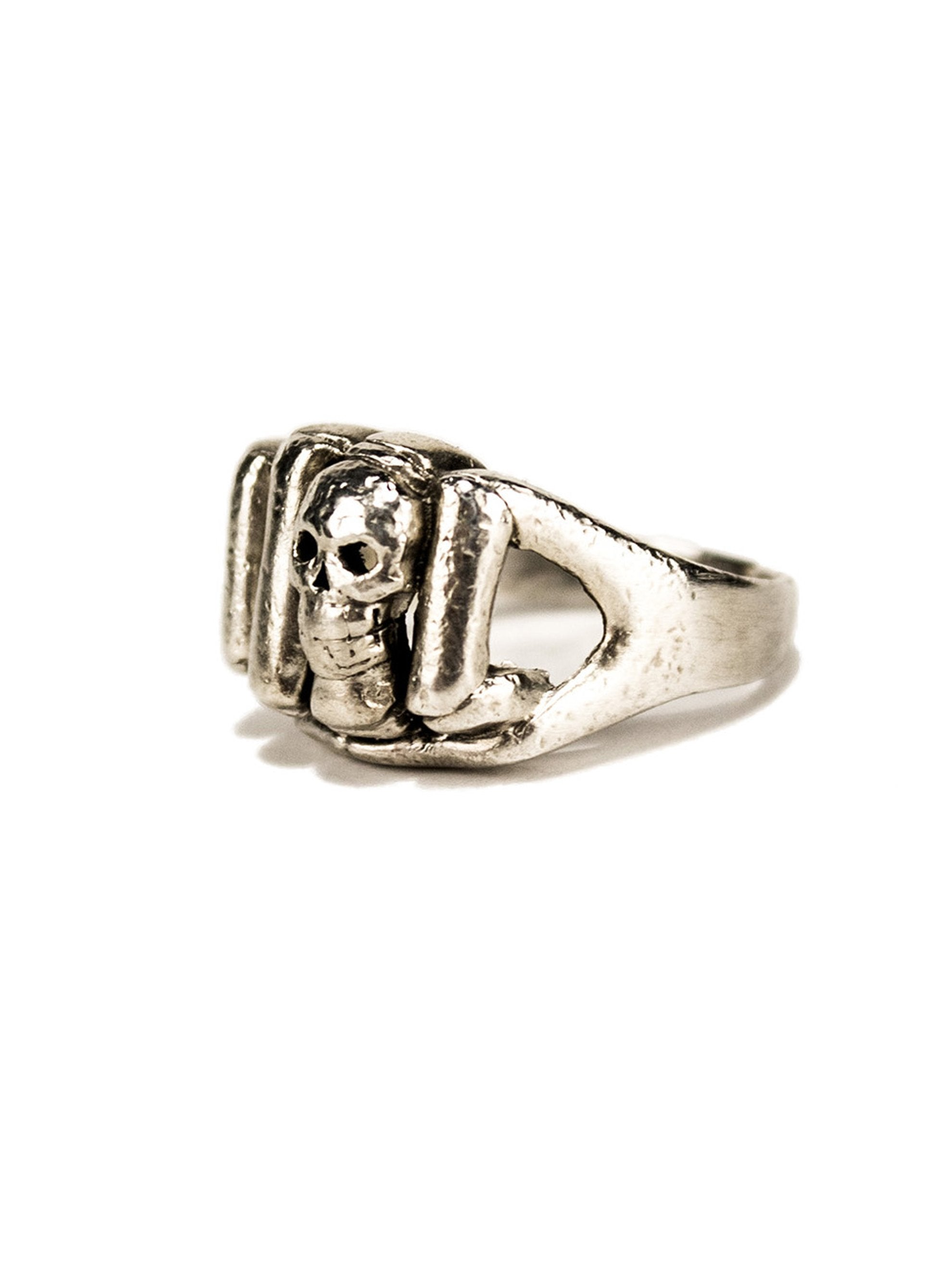 9.5 Vintage .925 Sterling Silver Skull and Fist Ring 2