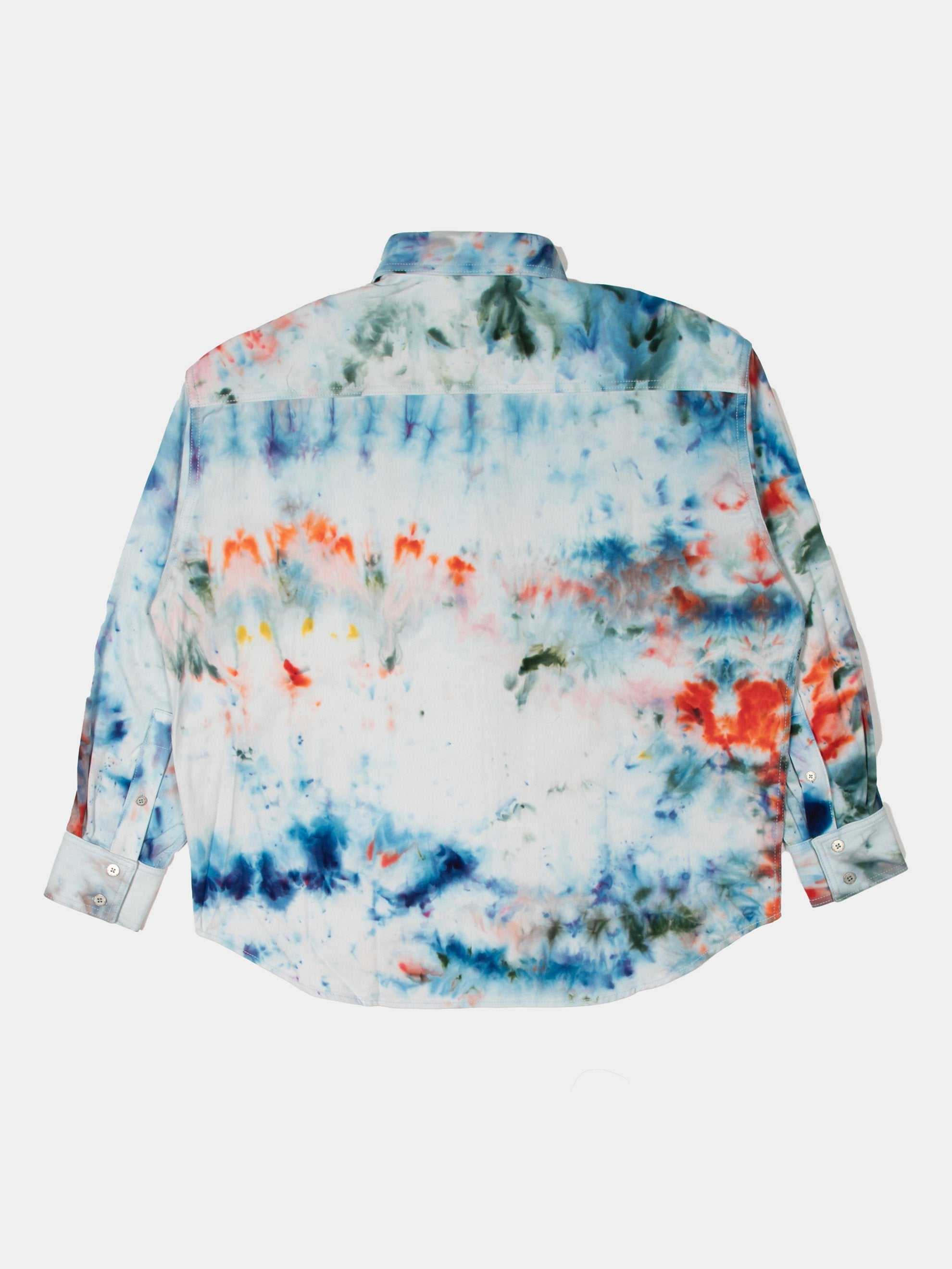 Turquoise/Red/Blue HAND-DYED TRB SOTO OS LS BD SHIRT 2