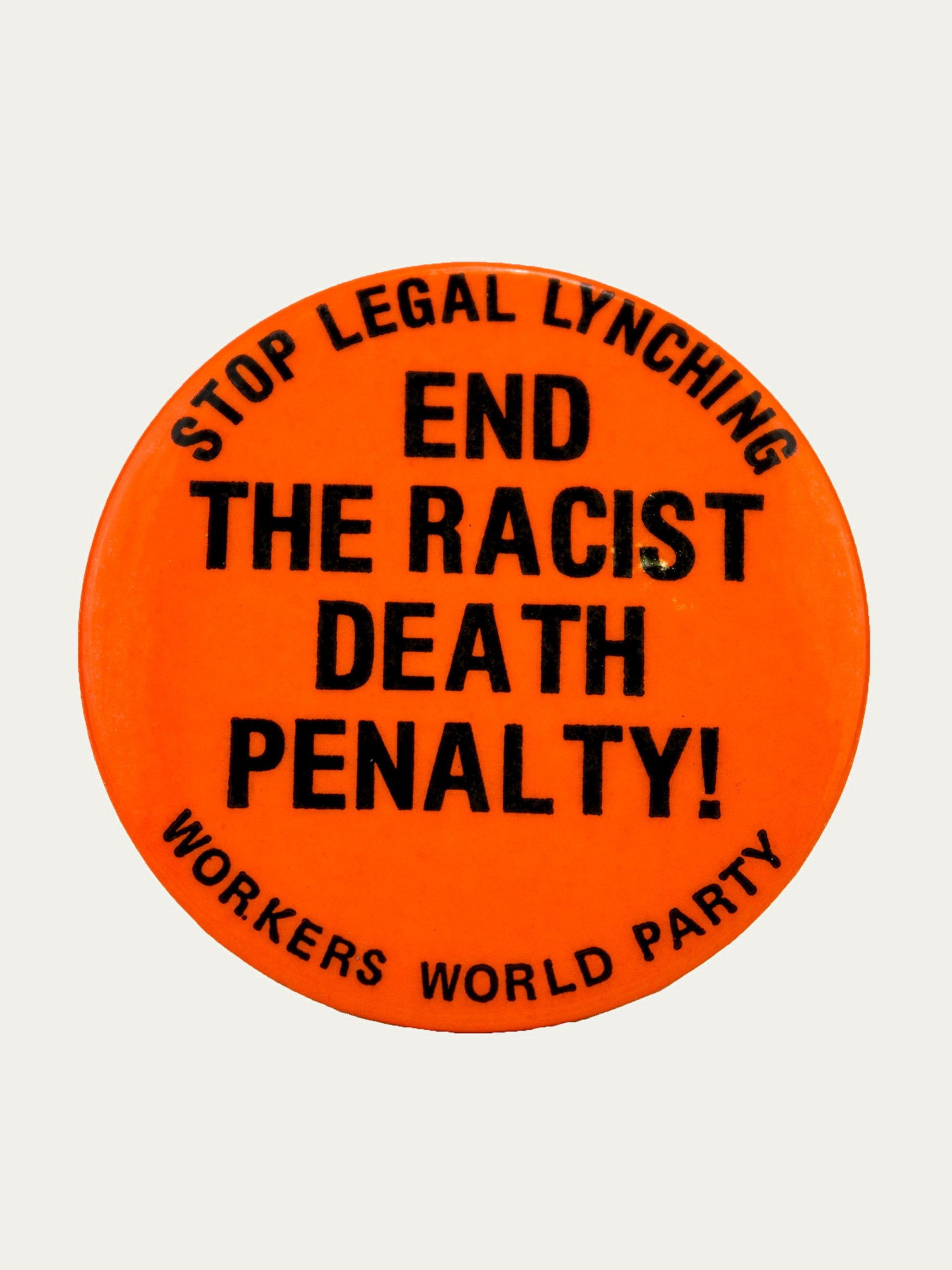 "Orange/Black Vintage 1970's Activist Protest Pin ""End Racist Death Penalty"" 1"