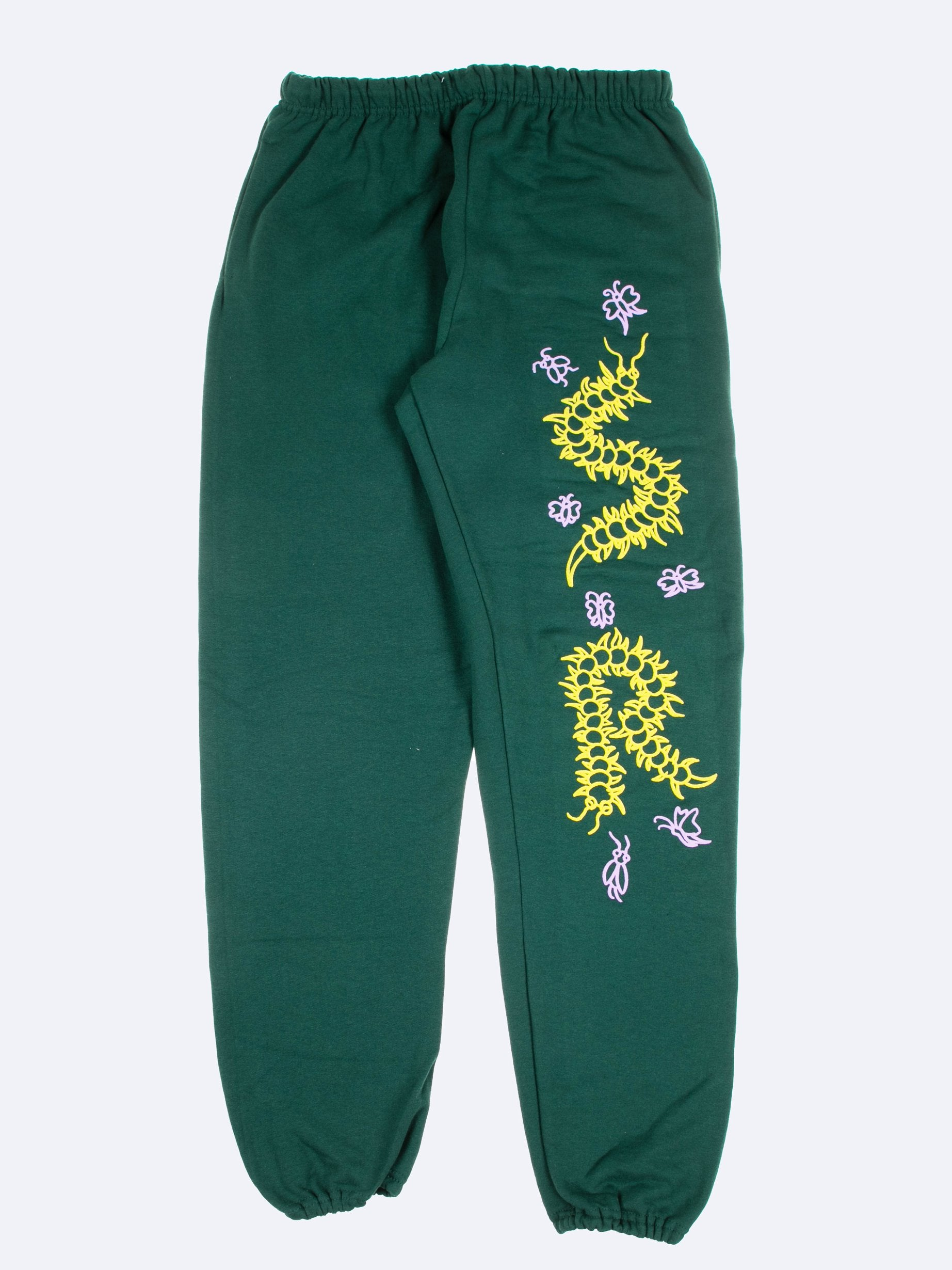 Green Caterpillar Puff Print Sweatpants 1