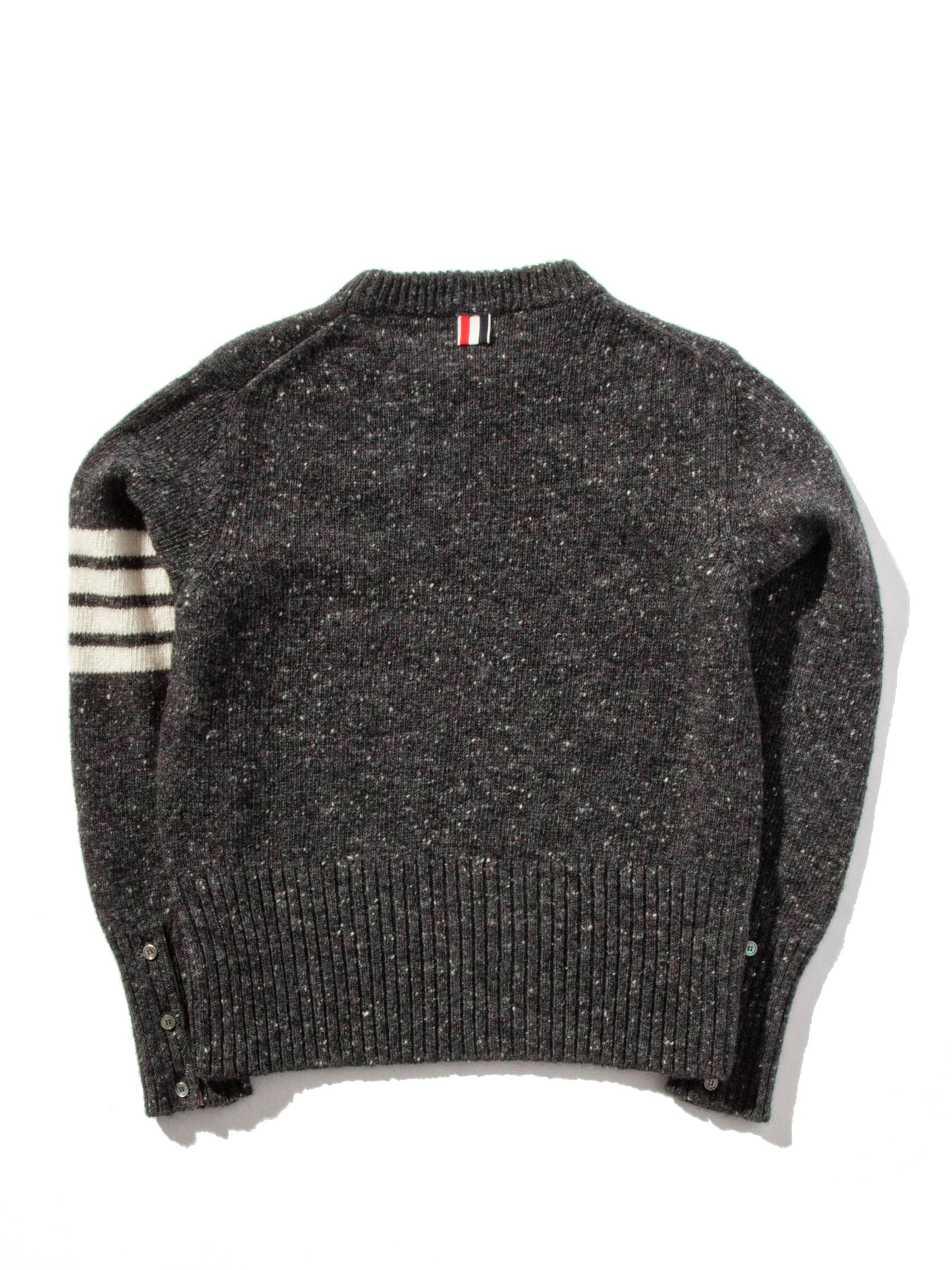Classic Crew Neck Pullover (White 4 Bar Stripe/Mohair Tweed)