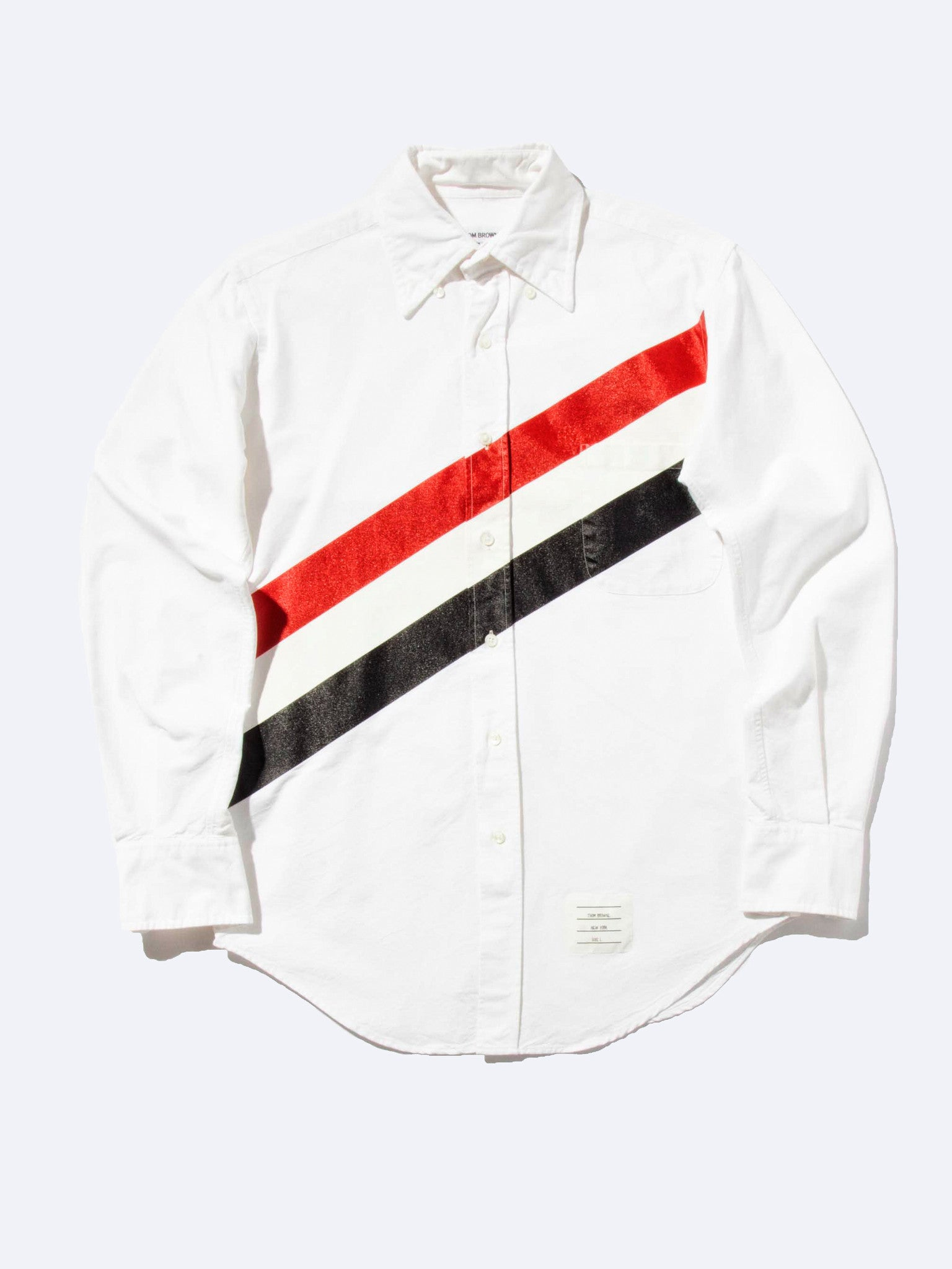 Classic L/S Shirt W/ Printed Diagonal Stripe Oxford